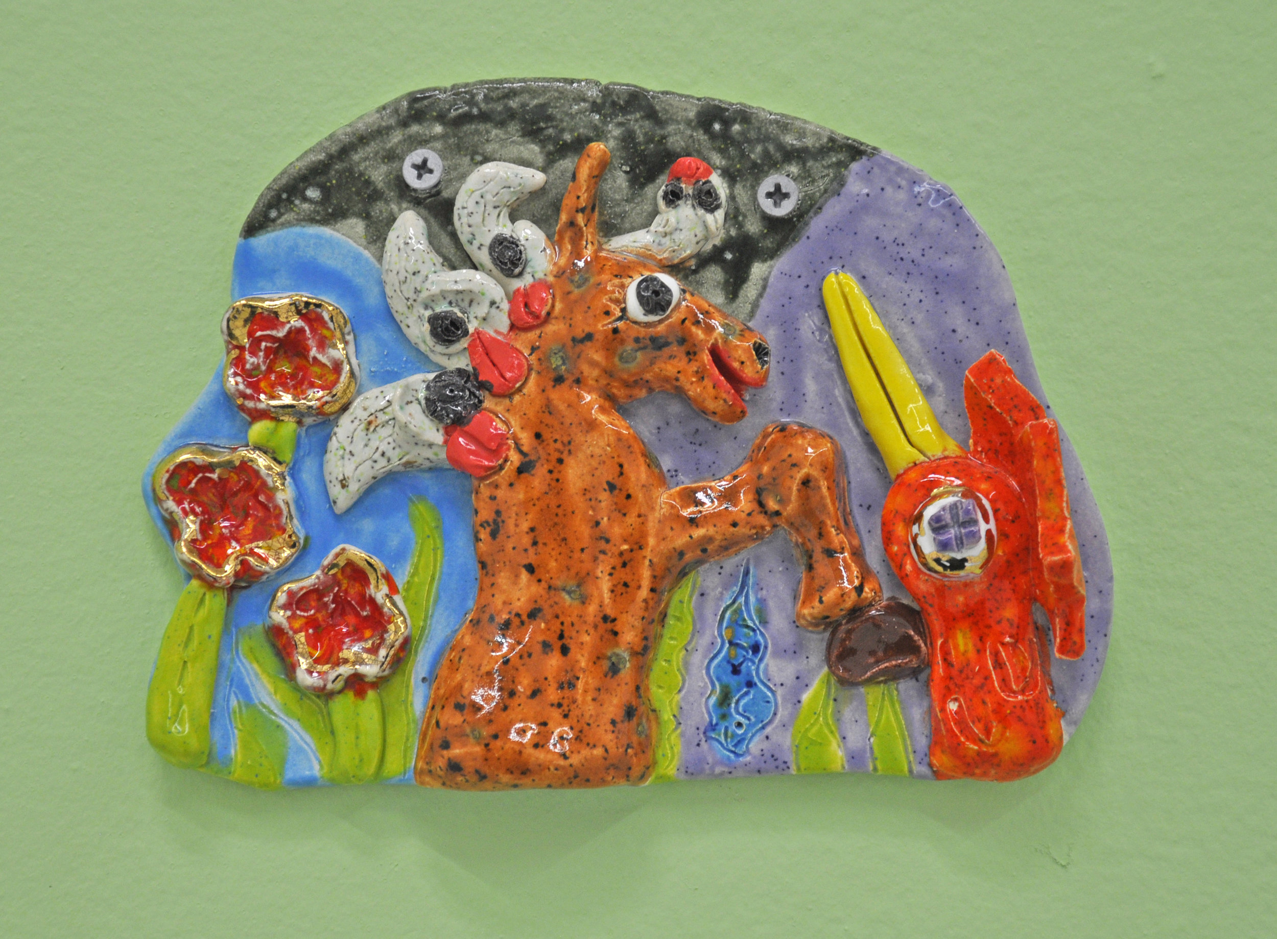 "Maija Peeples-Bright, ""Foal and Flying Friend"", glazed ceramic, 5 1/2 x 1/2 x 7 1/2 in, 2010"