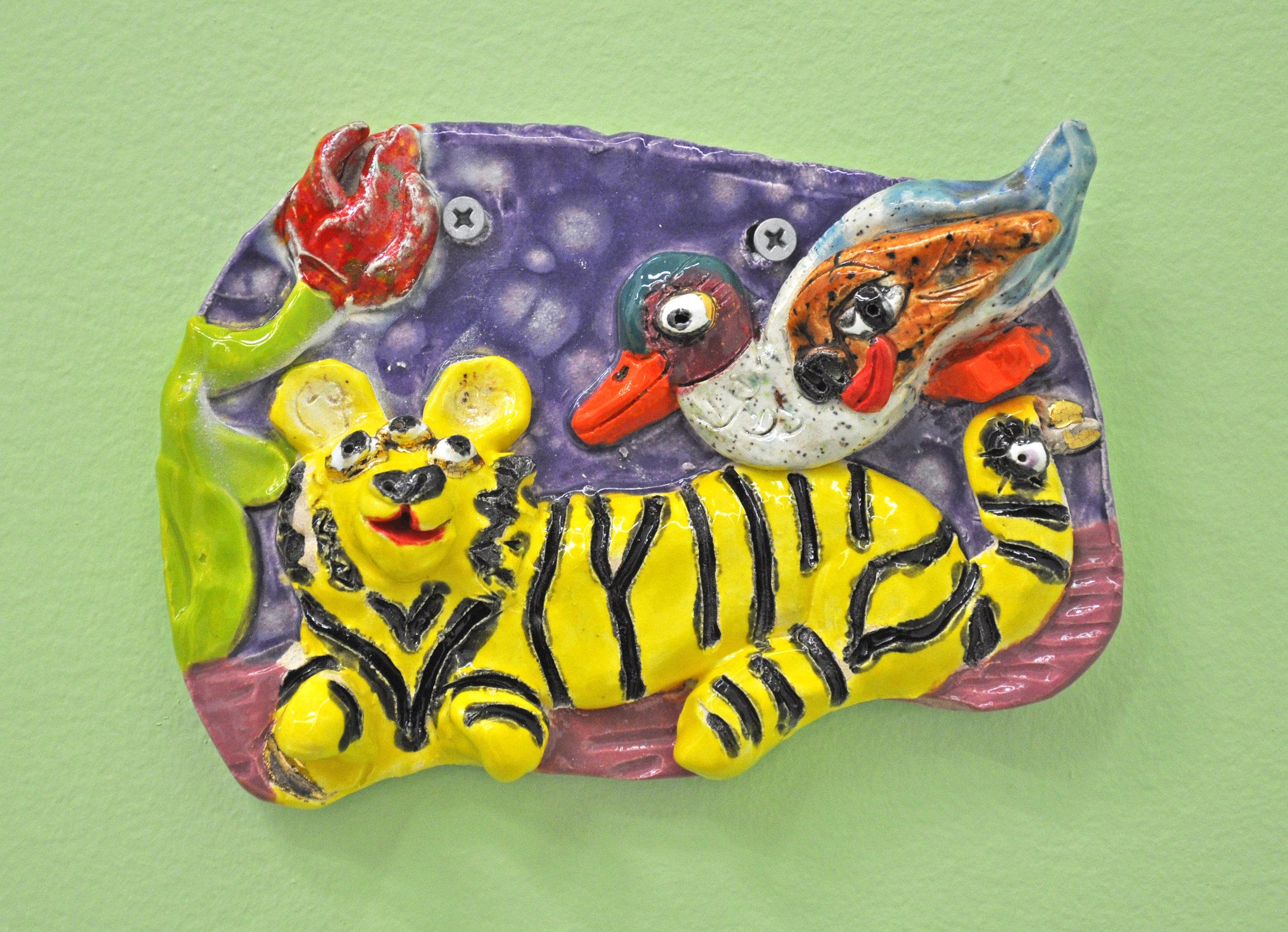 "Maija Peeples-Bright, ""Duck on Tiger"", glazed ceramic, 7 x 2 x 5 in"