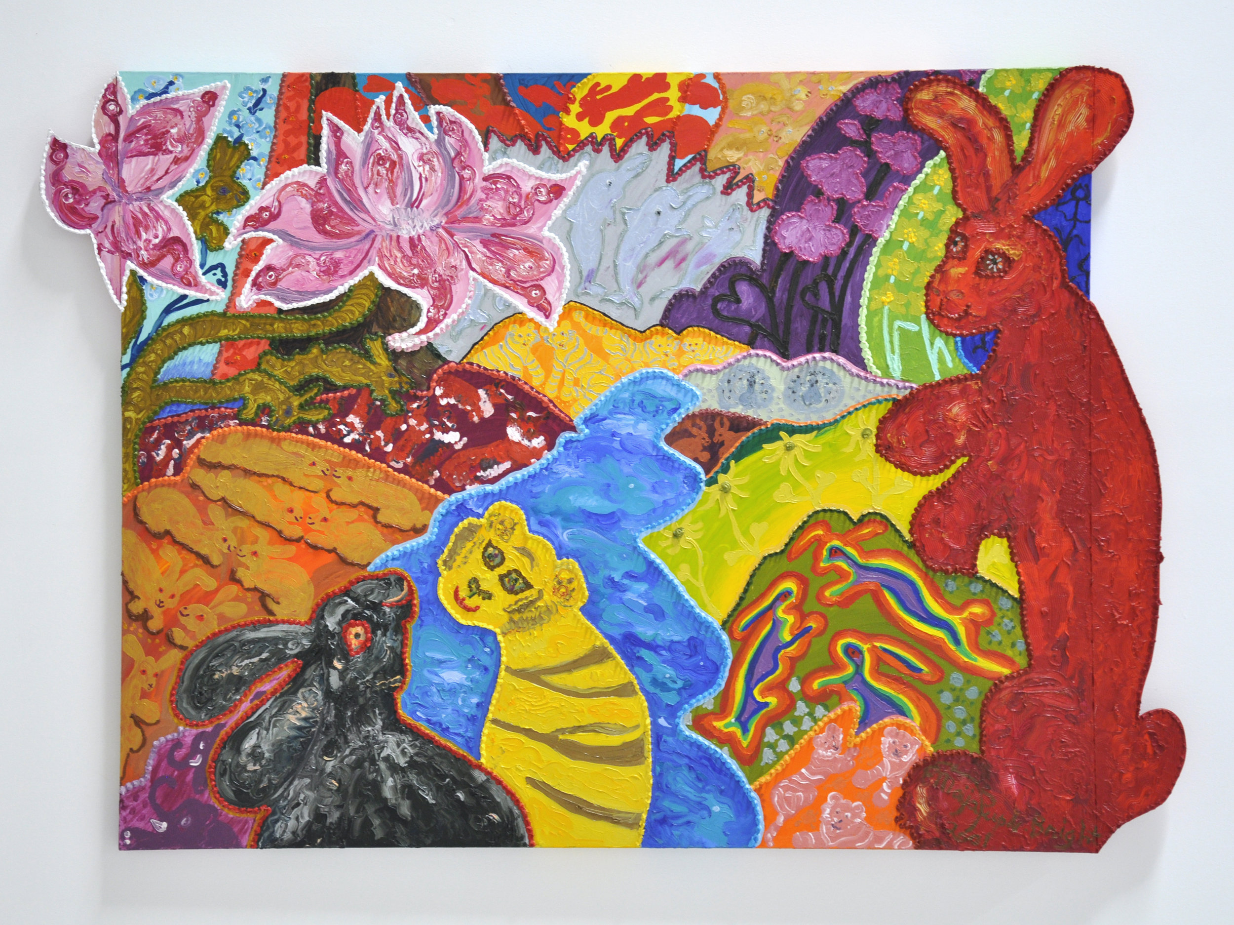 "Maija Peeples-Bright, ""Lotus of Love Says Hare to Love"", acrylic and wood on canvas, 48 x 2 1/2 x 67 in, 2001"