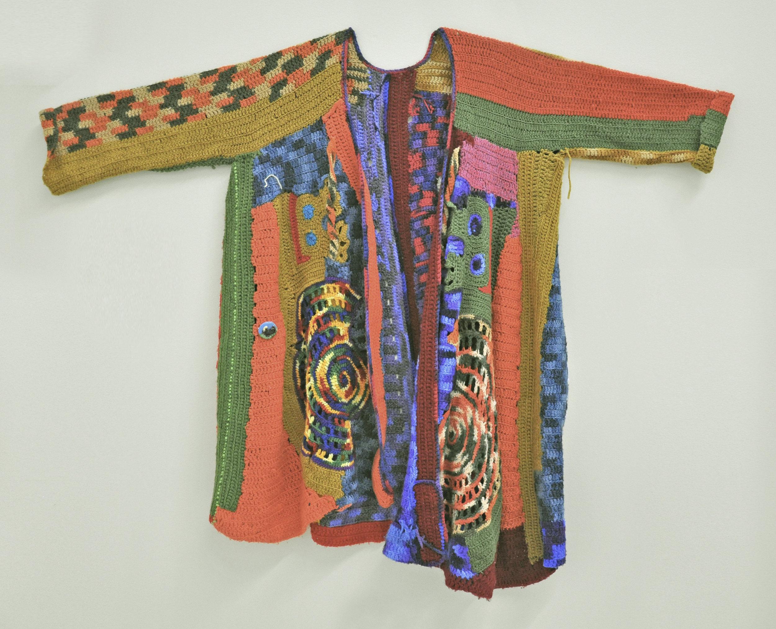 """Maija Peeples-Bright, """"Knit 8"""", yarn, 48 x 61 in"""