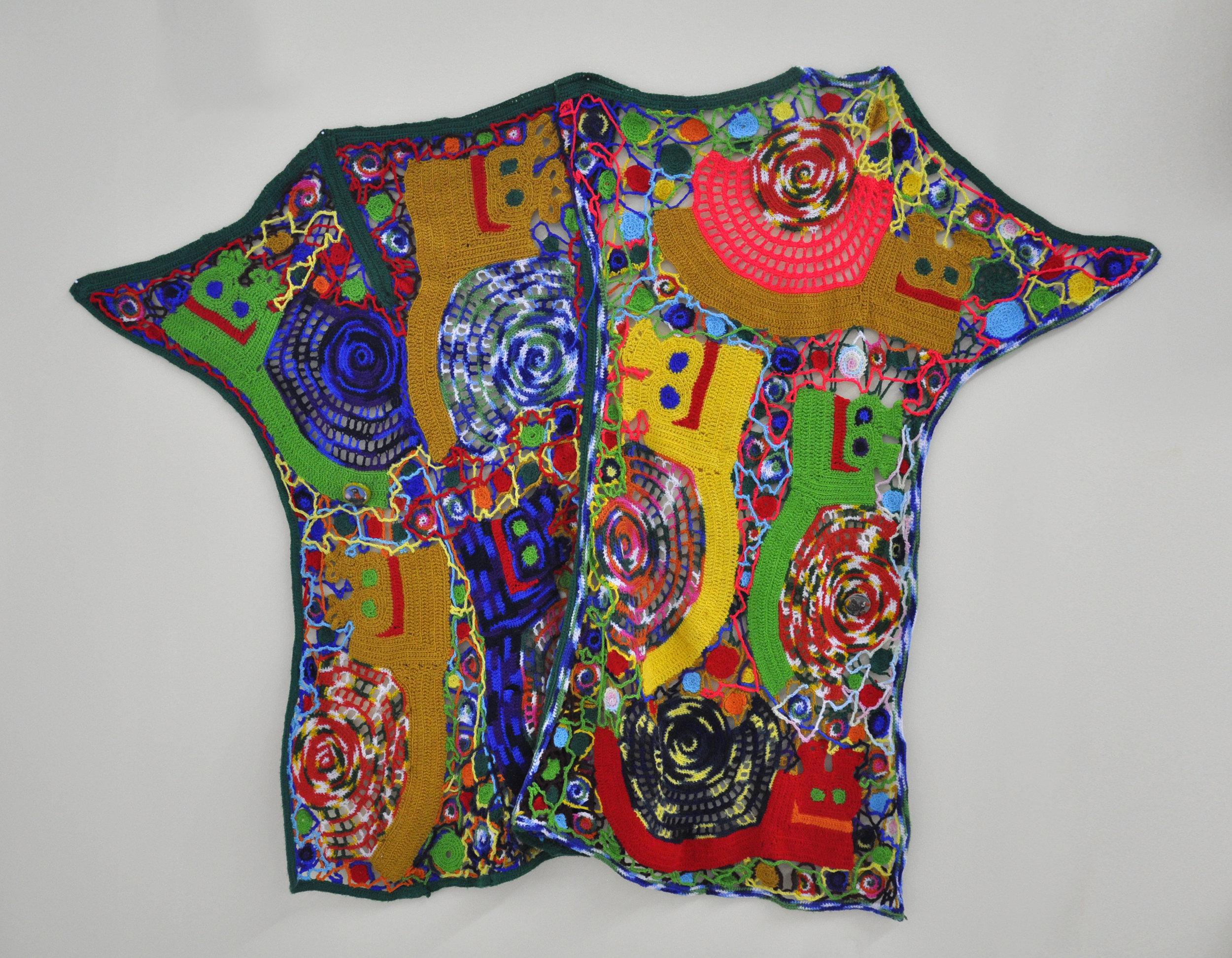 """Maija Peeples-Bright, """"Knit 5"""", yarn, 56 x 72 in"""