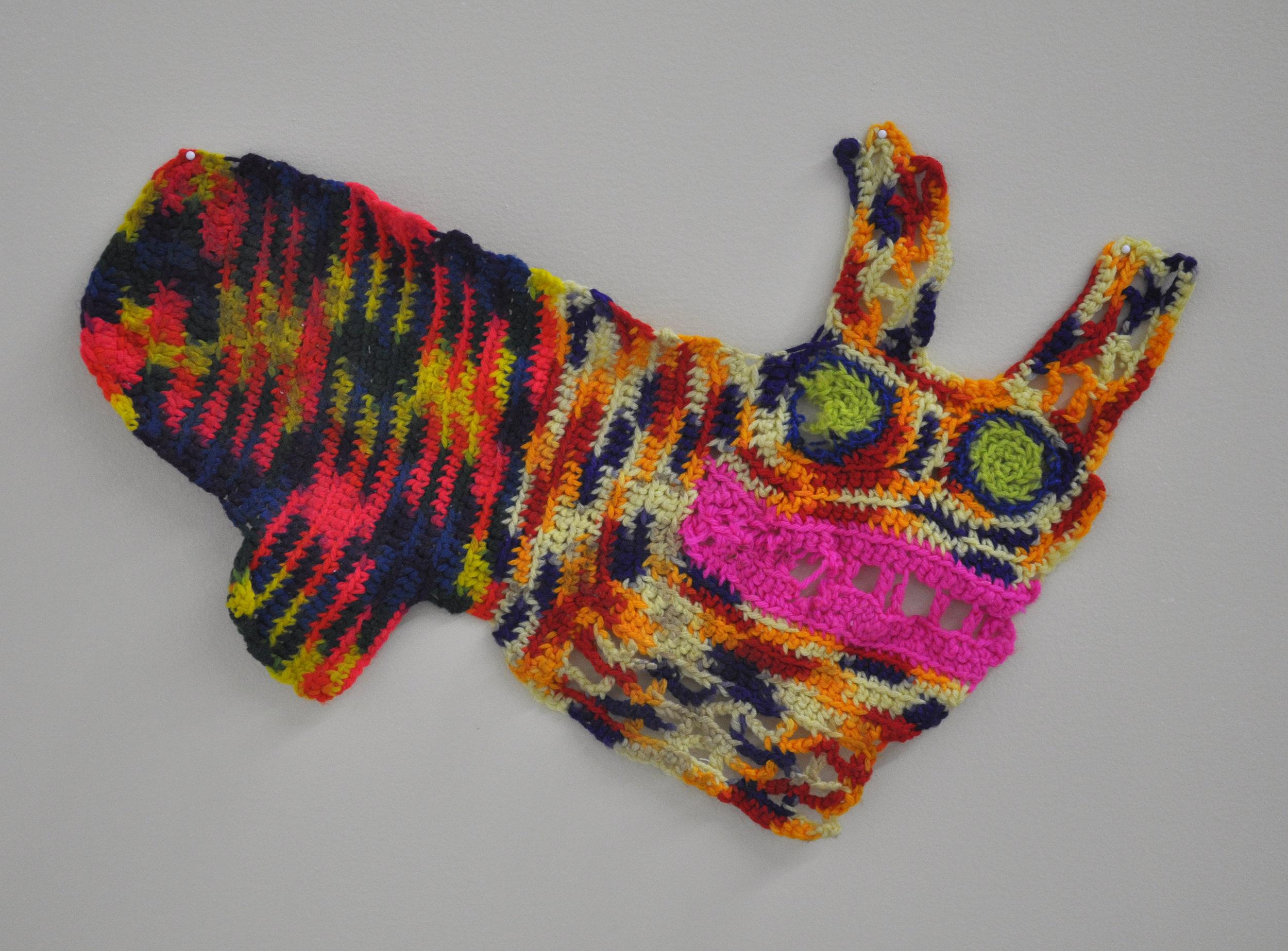 """Maija Peeples-Bright, """"Knit 2"""", yarn, 17 x 22 in"""