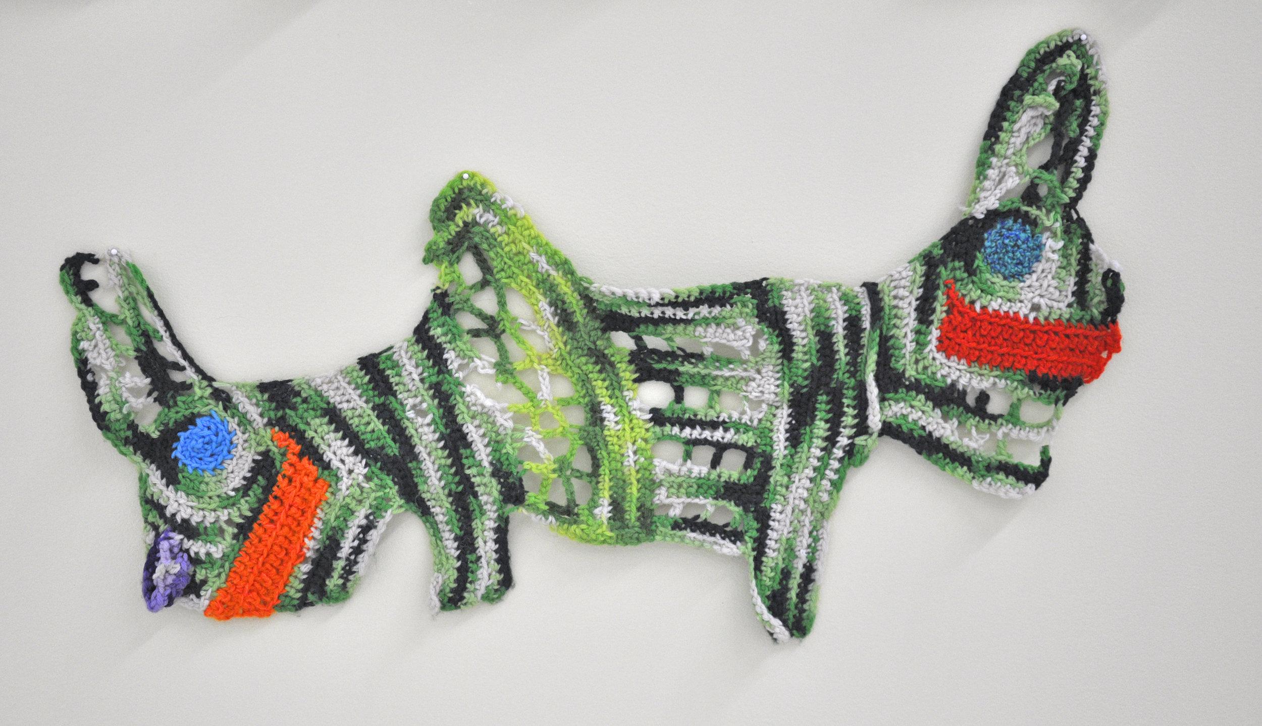 """Maija Peeples-Bright, """"Knit 10"""", yarn, 21 x 34 in"""