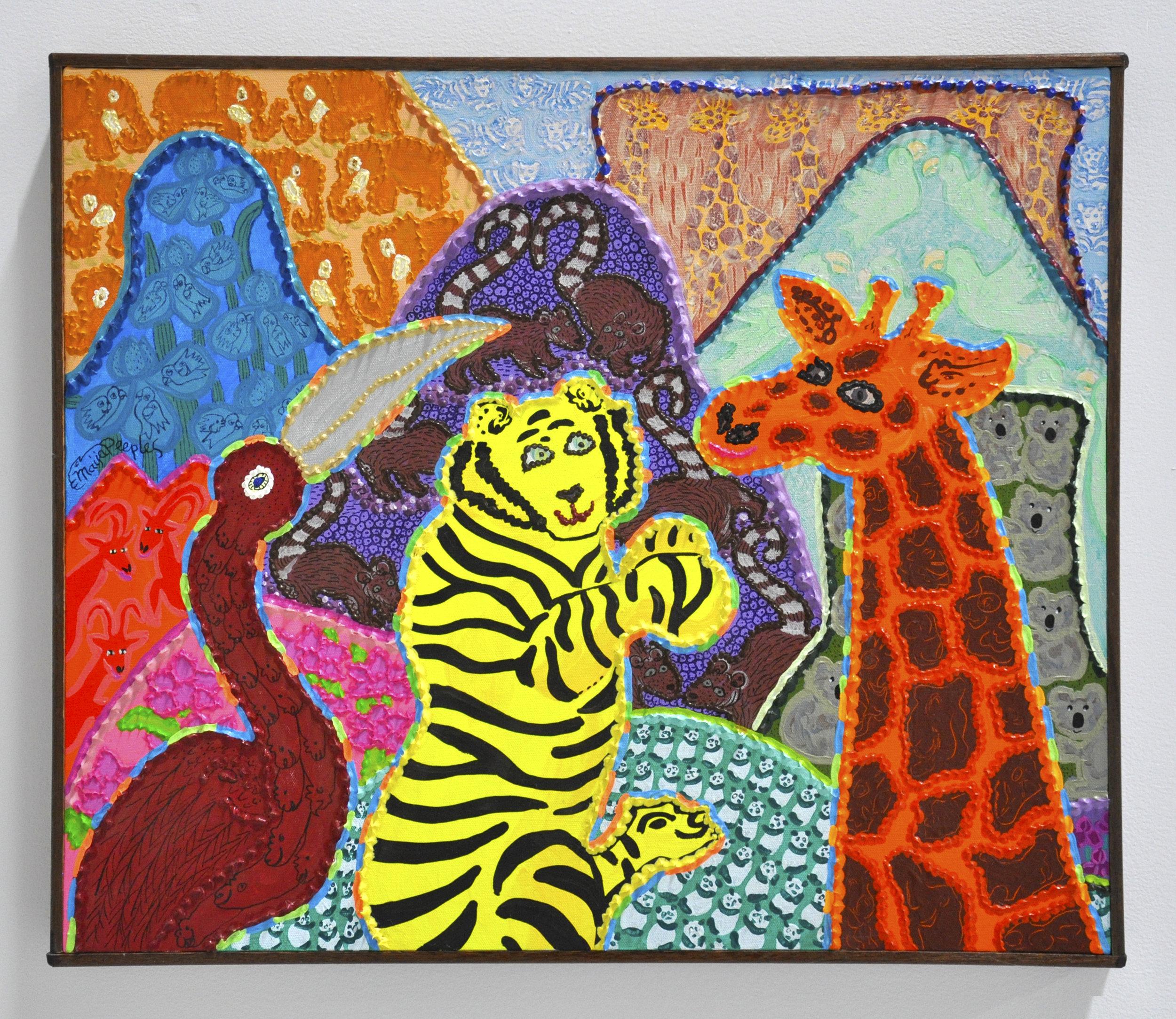 "Maija Peeples-Bright, ""Plezoore Sofine"", acrylic on canvas, 20 1/2 x 24 1/2 in, 1994"