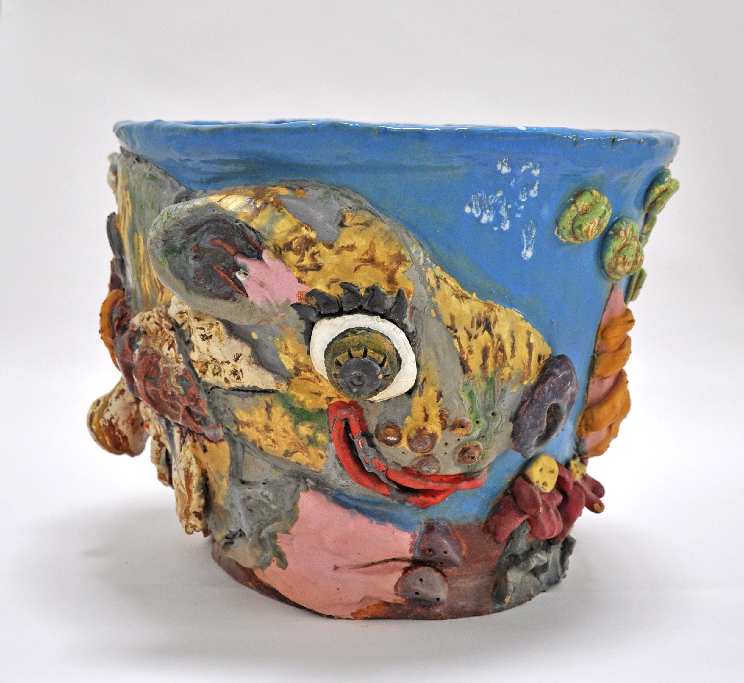 """Maija Peeples-Bright, """"Animal Pot"""", glazed ceramic, 13 x 16 x 17 in"""