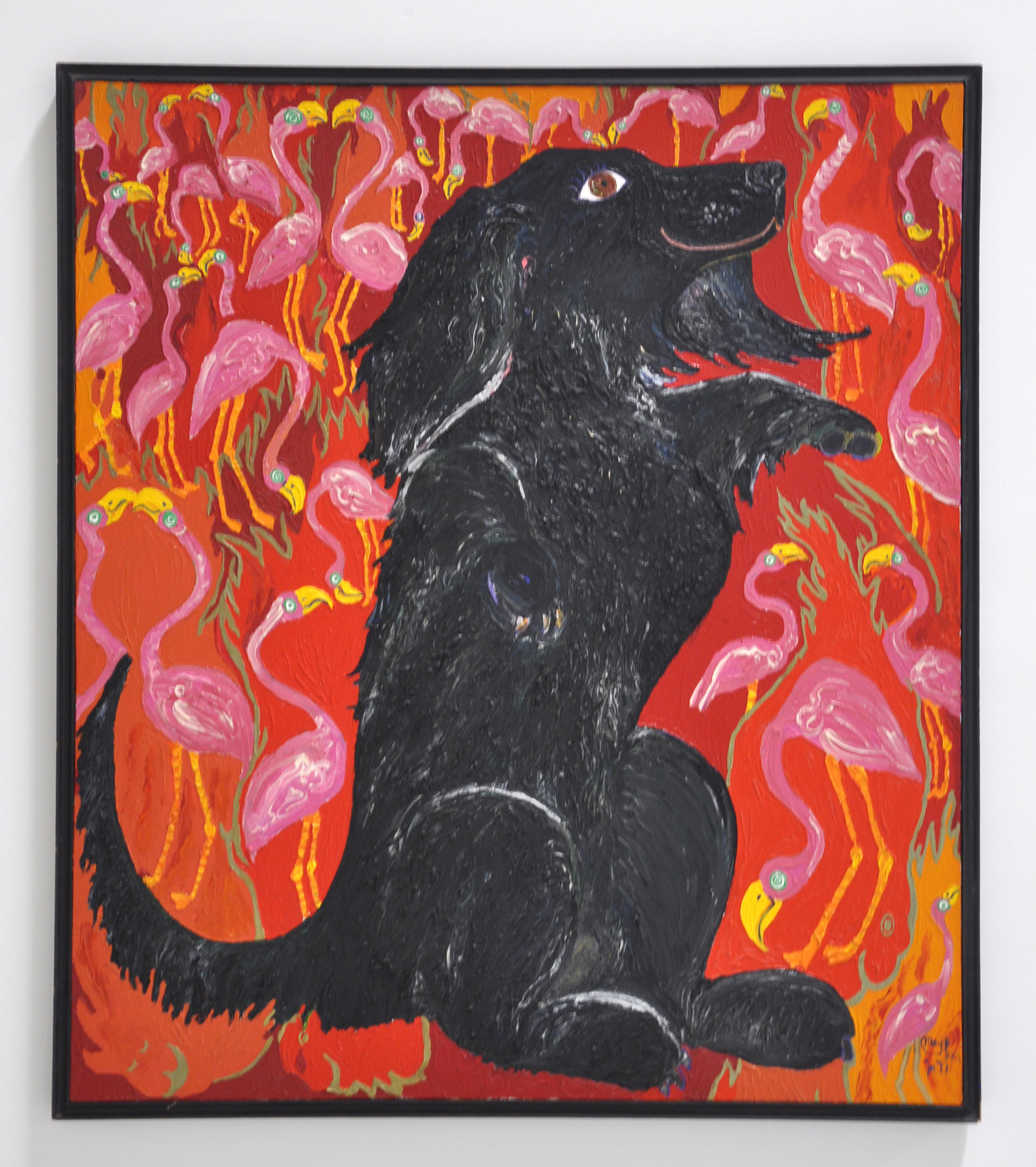 "Maija Peeples-Bright, ""Woofs Eternal Flamingo Flames"", oil on canvas, 49 1/2 x 44 in, 1977"