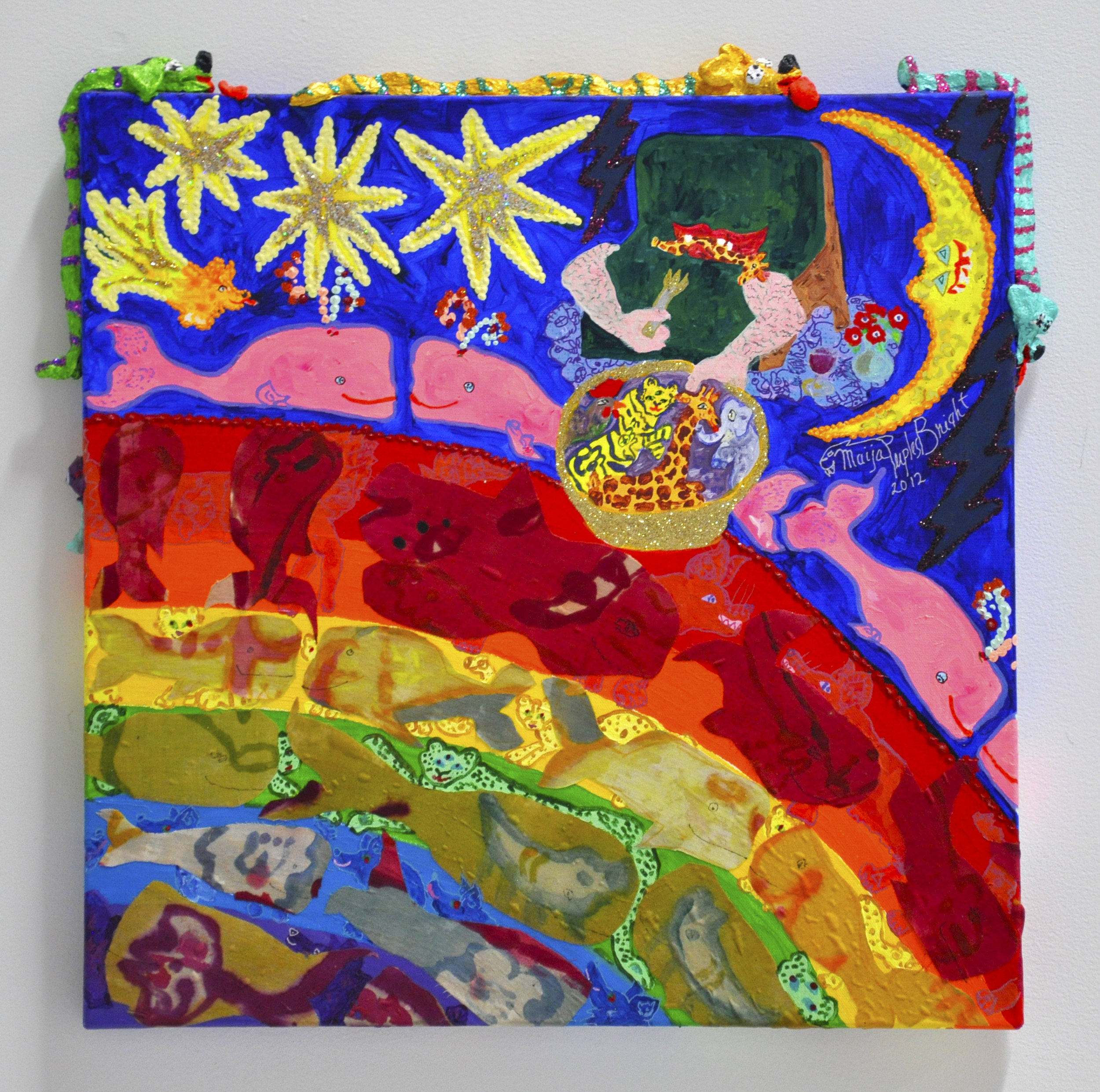 "Maija Peeples-Bright, ""Slant Step Feeds 'Some Whale over the Rainbow'"", acrylic paint, glitter, fabric, air dry clay on canvas, 21 x 2 x 22 in, 2012"