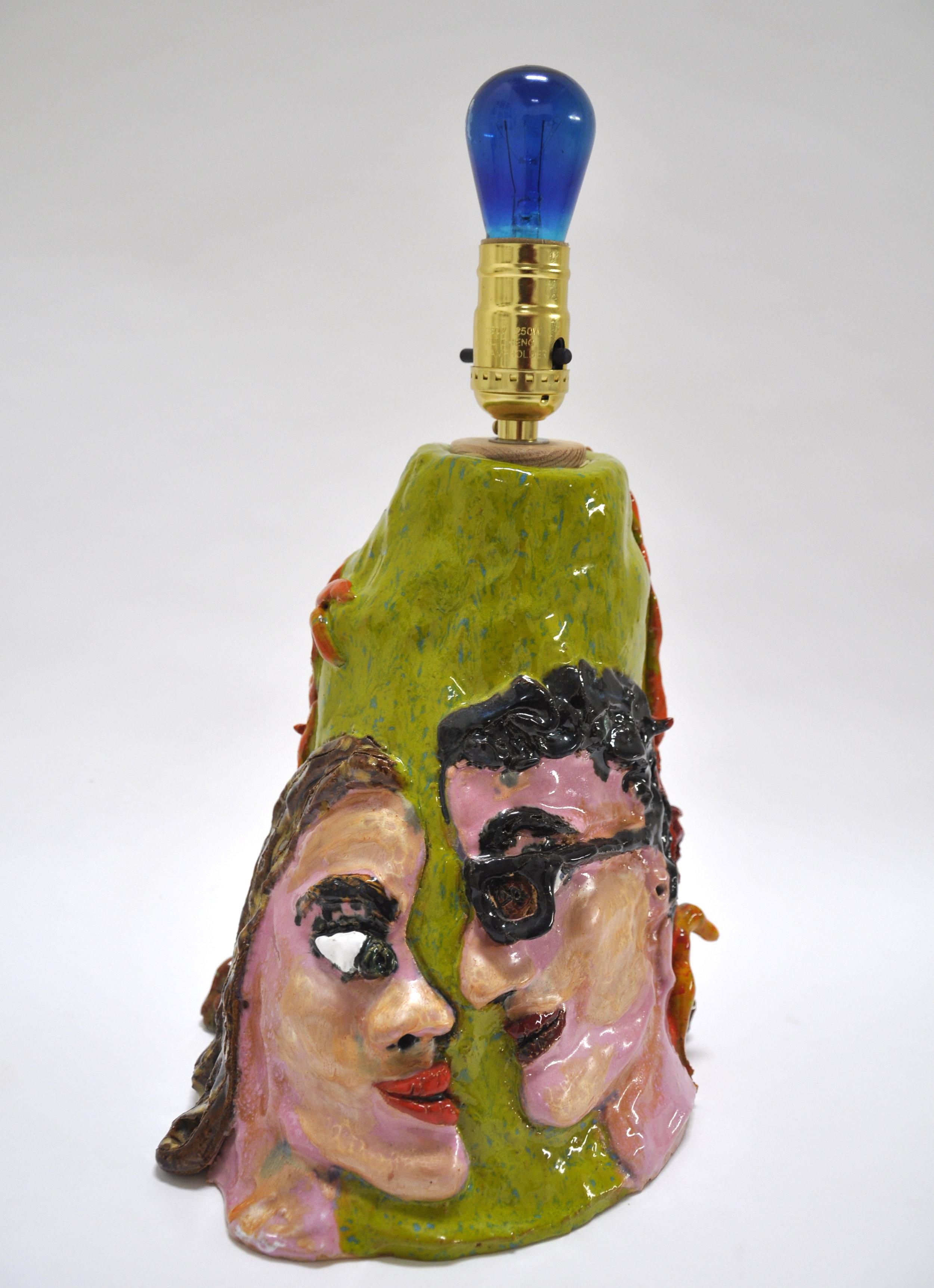 """Maija Peeples-Bright, """"Lovers Lamp"""", glazed ceramic, 18 x 9 x 8 in"""