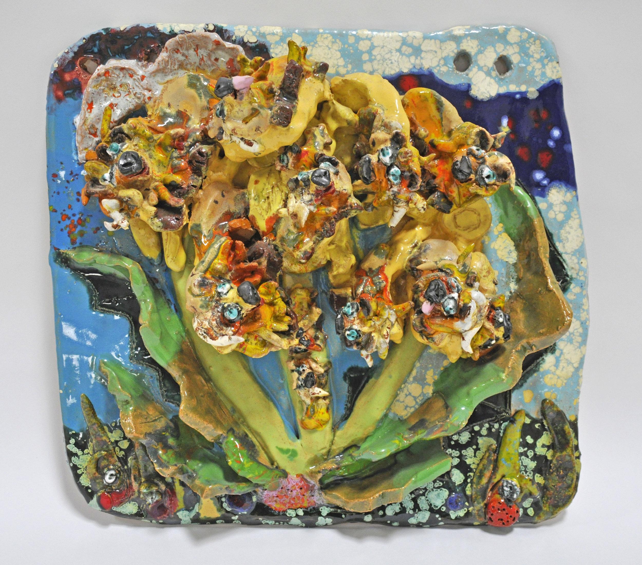 """Maija Peeples-Bright, """"Dand-e-Lion"""", glazed ceramic, 15 x 3.5 x 15 in, 1974"""