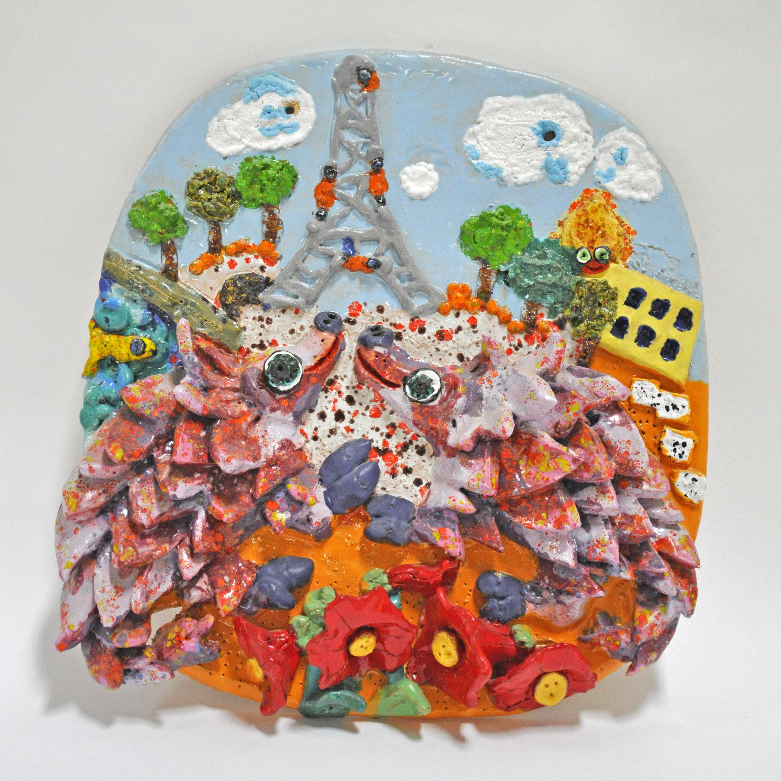 "Maija Peeples-Bright, ""Pangolins in Paris"", glazed ceramic, 15 x 3 x 14.5, 1977"