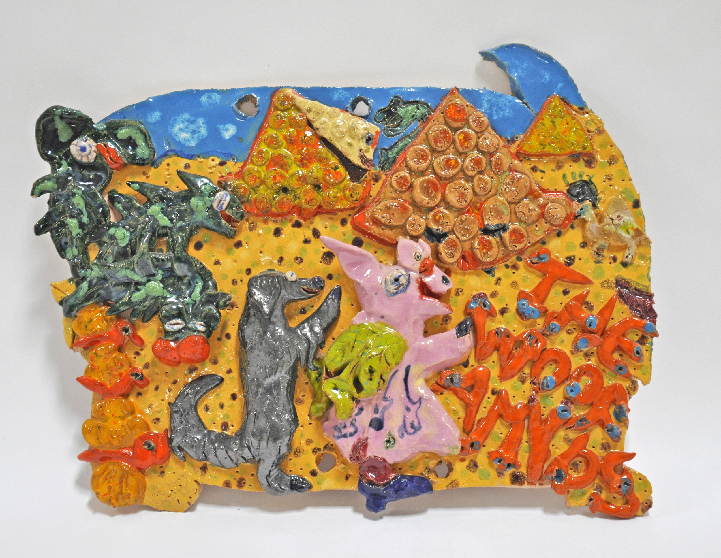 "Maija Peeples-Bright, ""Woof and Rhearino visit the Woofamyds"", glazed ceramic, 12 x 1.5 x 15.5 in, 1977"