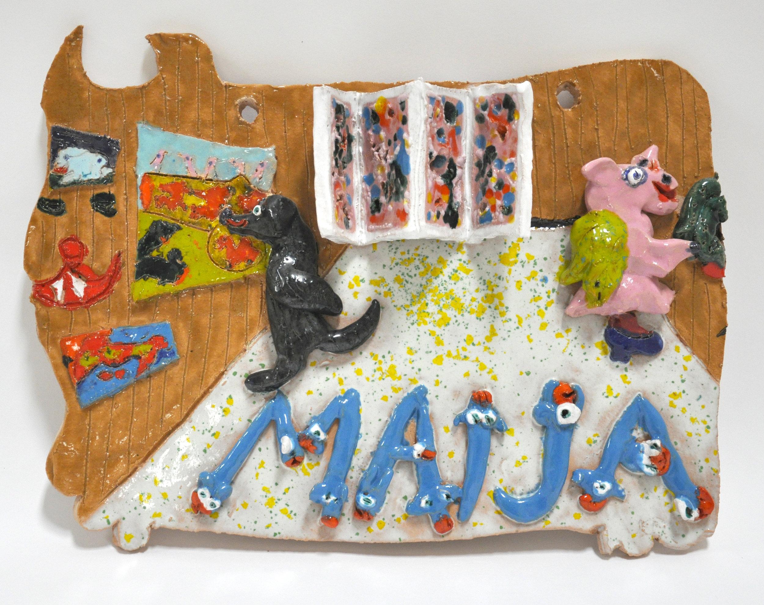 "Maija Peeples-Bright, ""Woof and Rhearino Love Maija's Artshow at The Candy Store Gallery Folsom, CA"", glazed ceramic, 12 x 3 x 15.5 in, 1977"