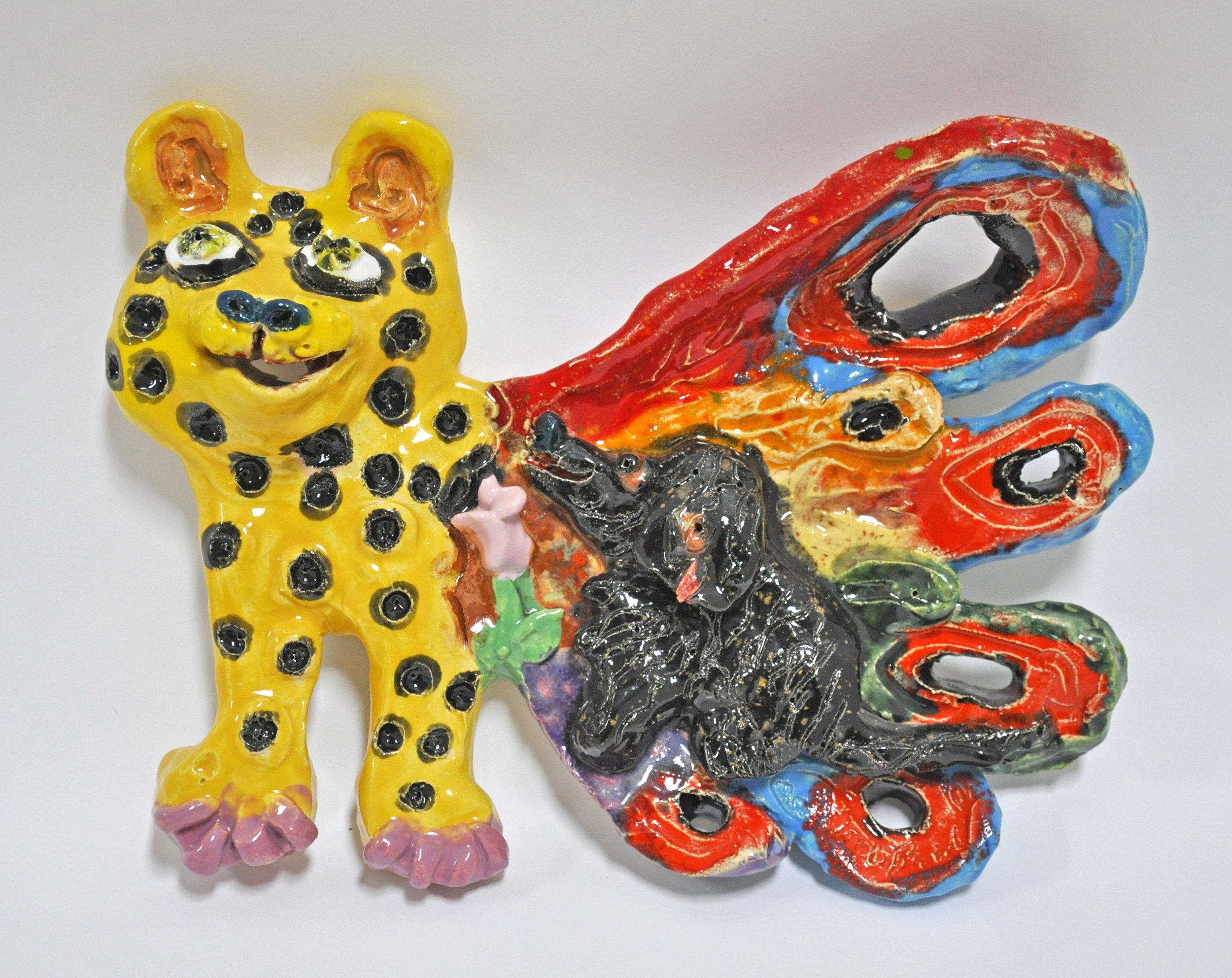 "Maija Peeples-Bright, ""Tiger by the Tail"", glazed ceramic, 5.5 x 1.5 x 7.5 in, 2010"