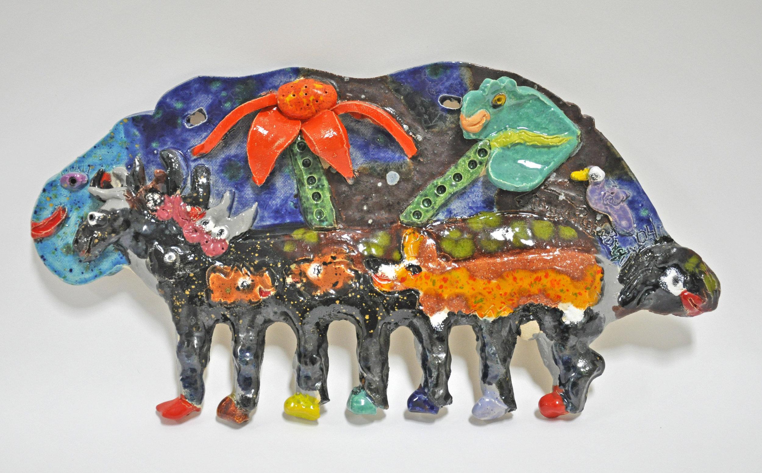 """Maija Peeples-Bright, """"Corgie"""", glazed ceramic, 11.5 x 3 x 9 in, 2005"""