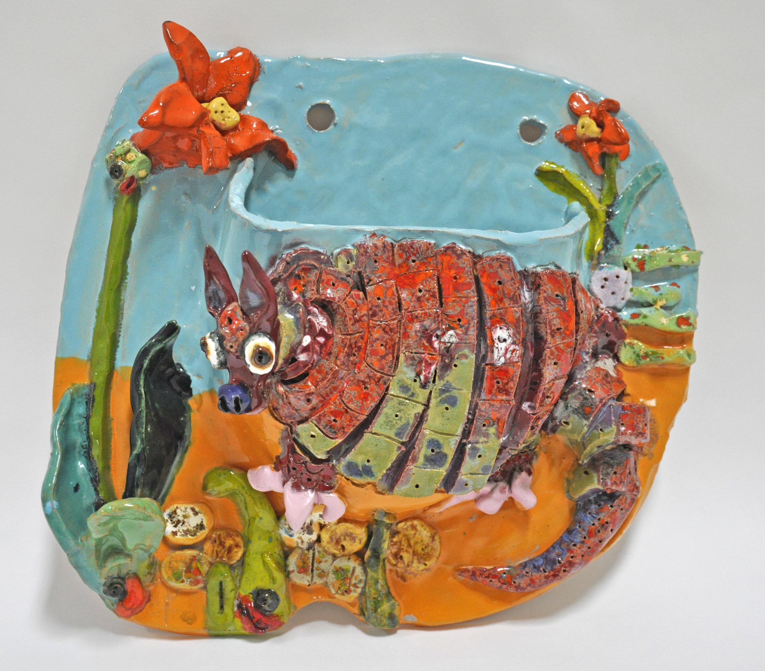 "Maija Peeples-Bright, ""Armadillo + Amarylis"", glazed ceramic, 13 x 5 x 13.5 in, 1975"