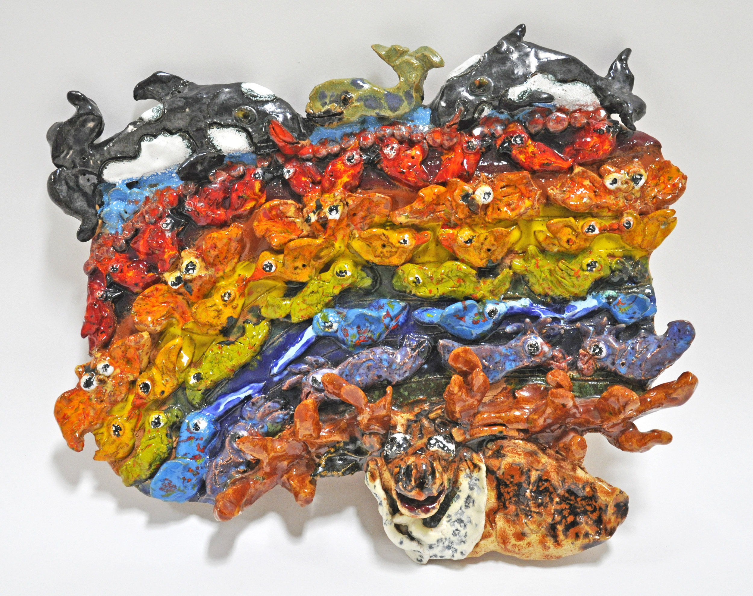 "Maija Peeples-Bright, ""Some Whale Over the Reindeer"", glazed ceramic, 12.5 x 2.5 x 15.5 in, 1988"
