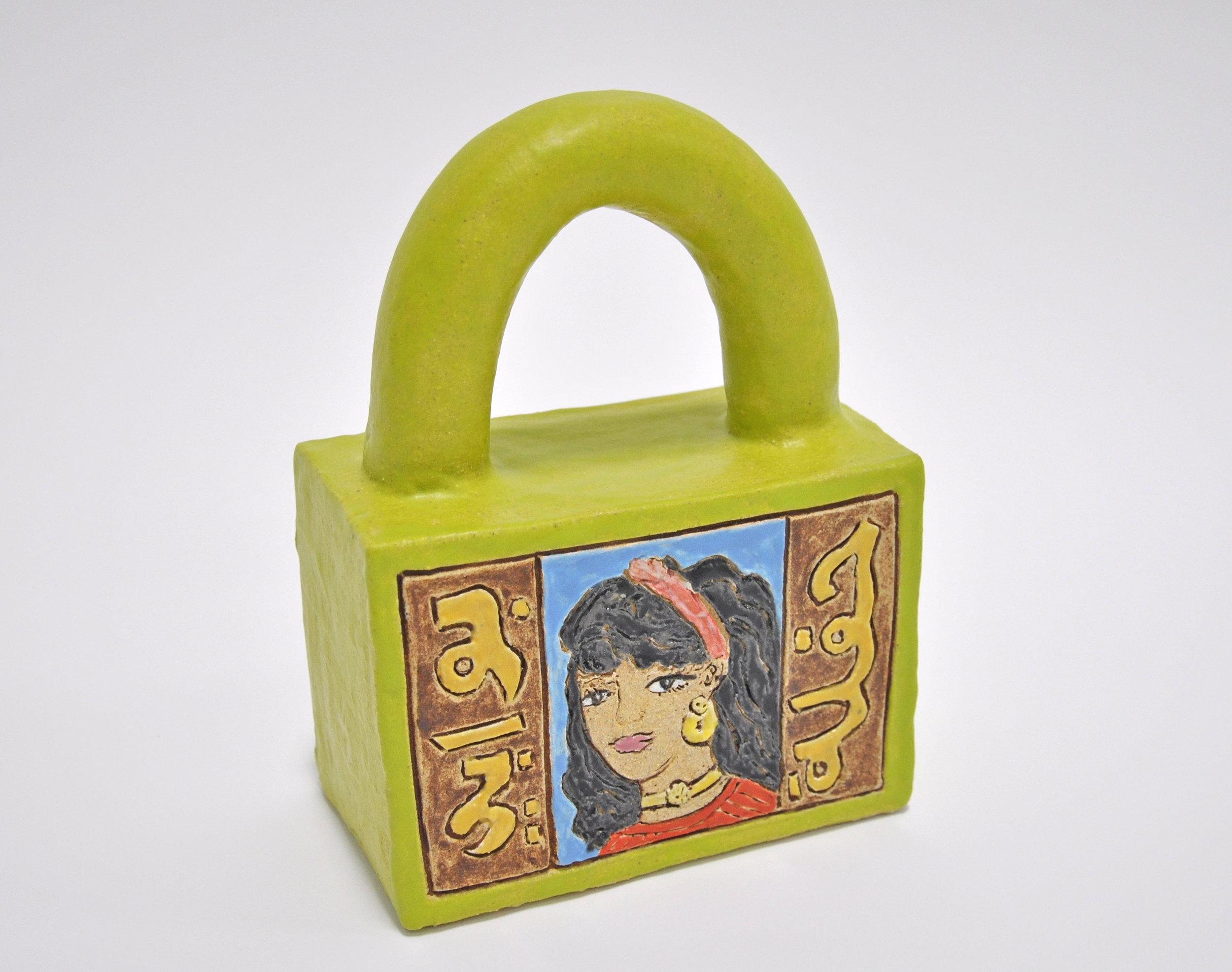 "Maryam Yousif, ""Cosmic Handbag: Poster"", glazed stoneware, 7 x 4 x 10 in, 2019, $1200"