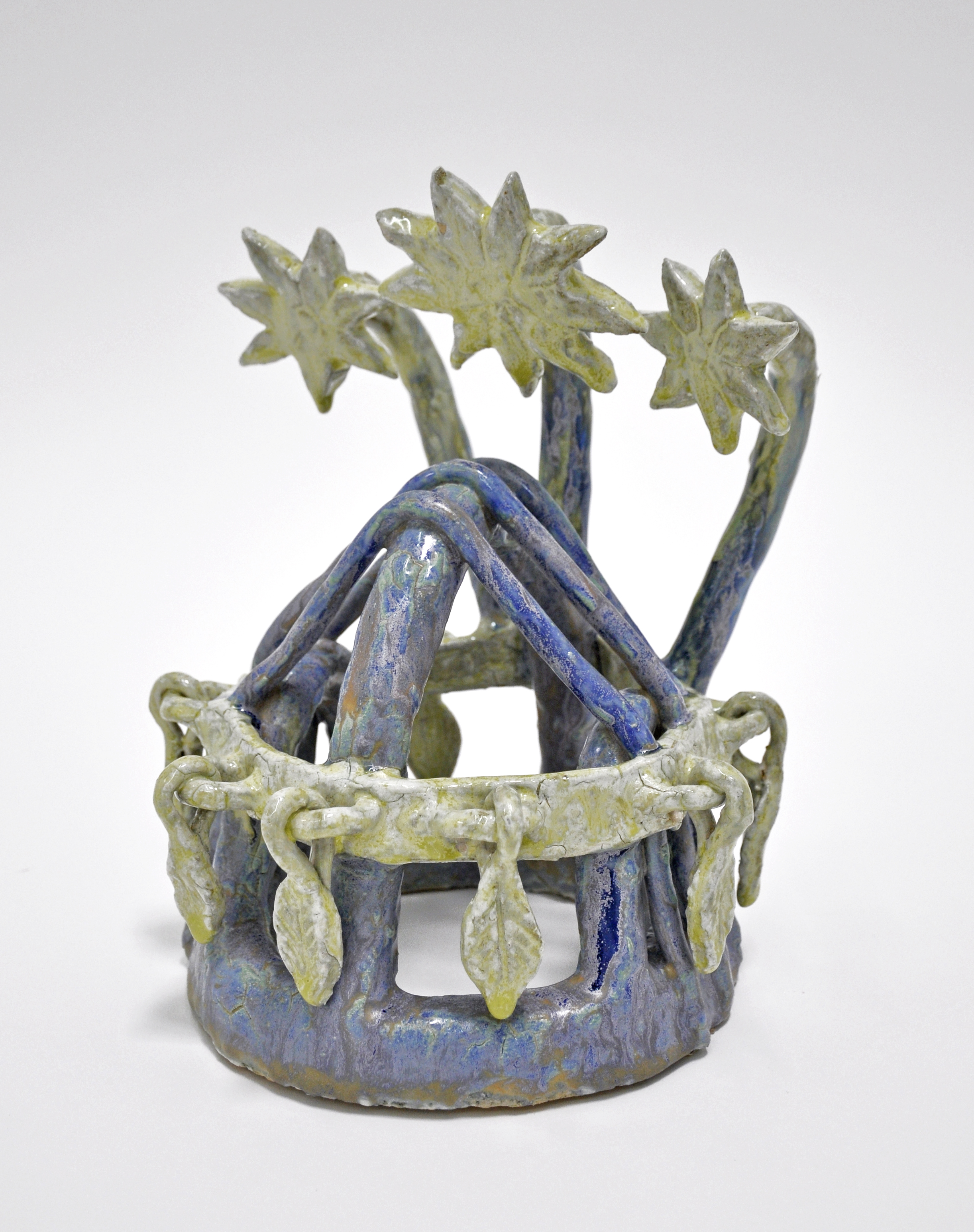 "Maryam Yousif, ""Flower Crown"", glazed stoneware and porcelain, 7.5 x 7.5 x 10.5 in, 2019"
