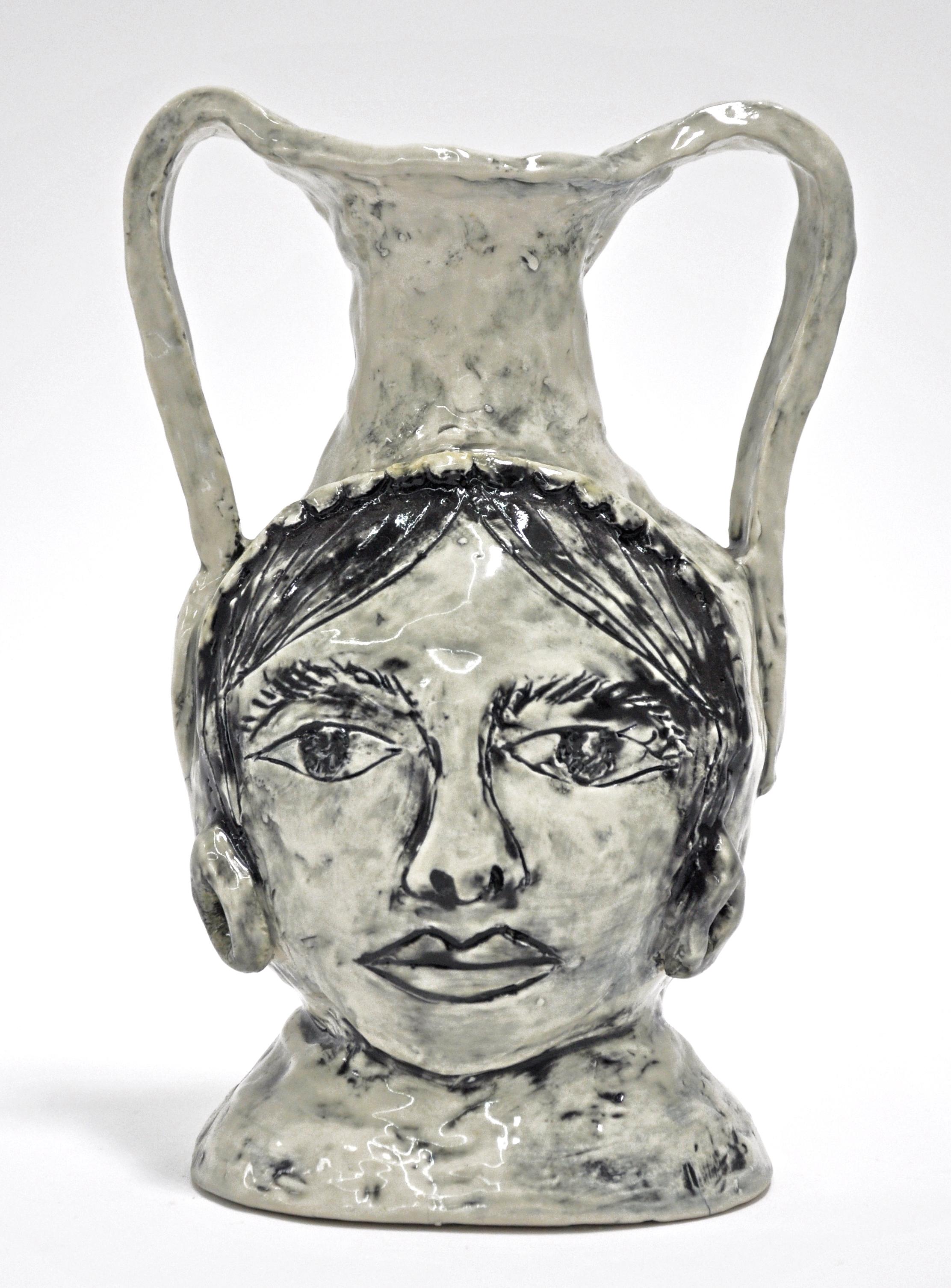 """Maryam Yousif, """"Grecian Gift to Puabi"""", glazed porcelain, 6.5 x 4 x 11 in, 2019, $800"""