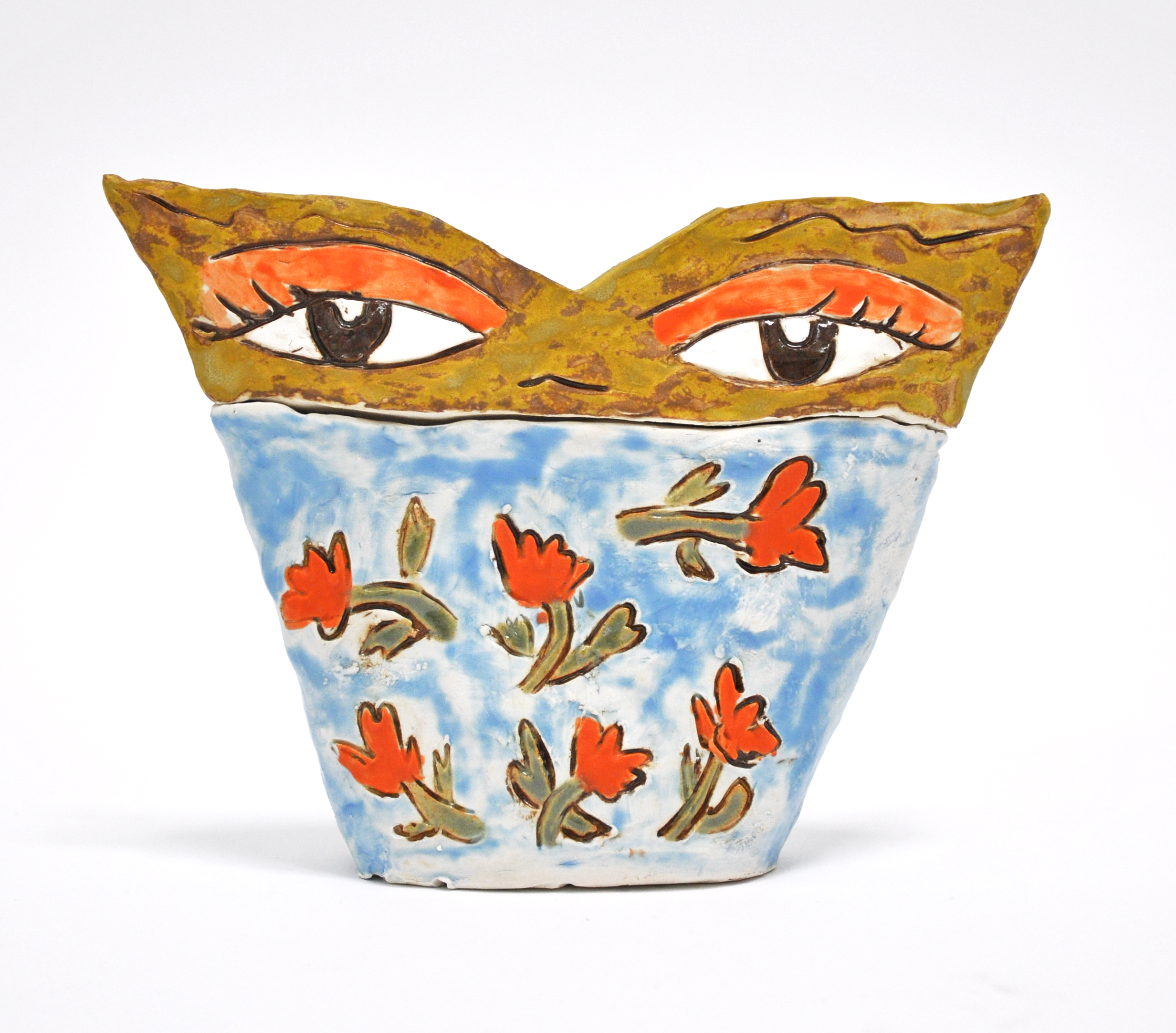 "Maryam Yousif, ""Eye Pot: Puabi's Eyes"", glazed porcelain, 9 x 3 x 6.5 in, 2019, $800"
