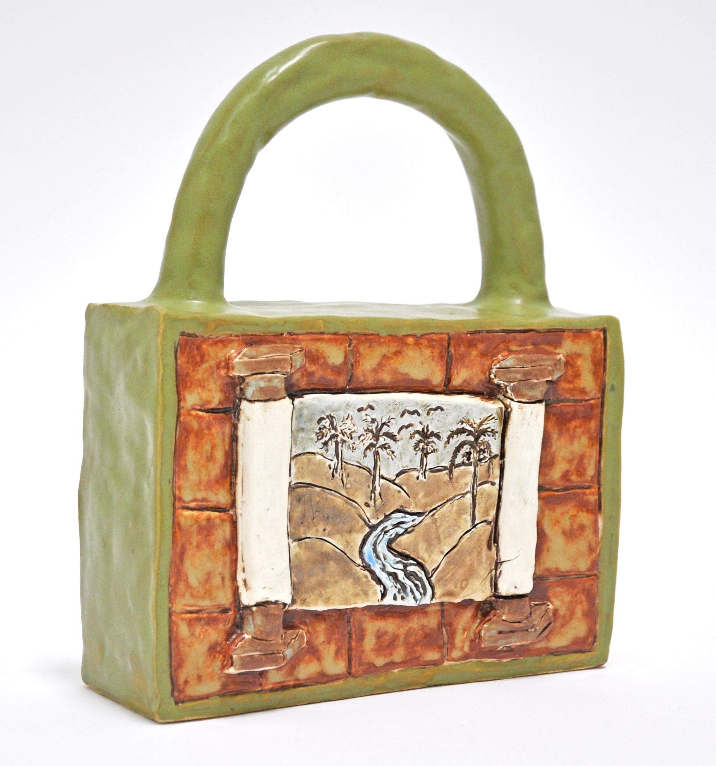 "Maryam Yousif, ""Cosmic Handbag: Scroll"", glazed porcelain, 8 x 3 x 10.5 in, 2019, $1100"
