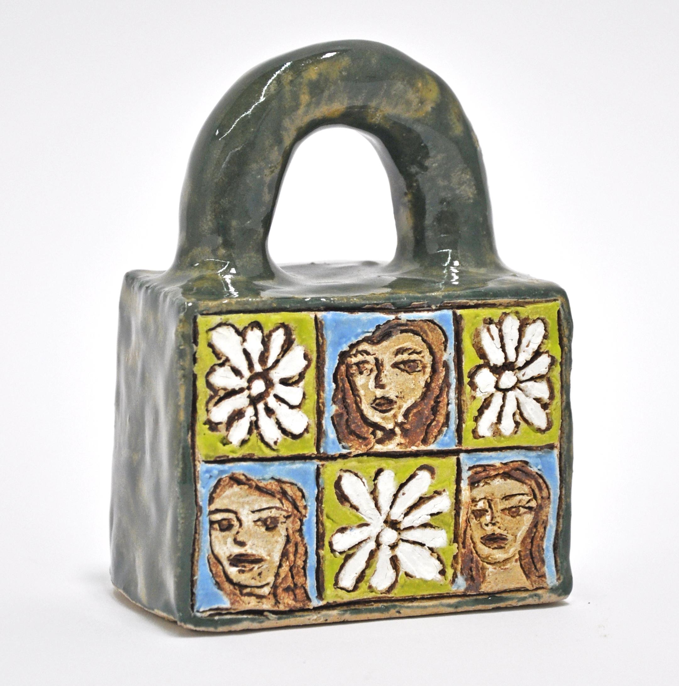"Maryam Yousif, ""Cosmic Handbag: Friendships"", glazed stoneware, 4 x 2.5 x 5 in, 2019, $600"
