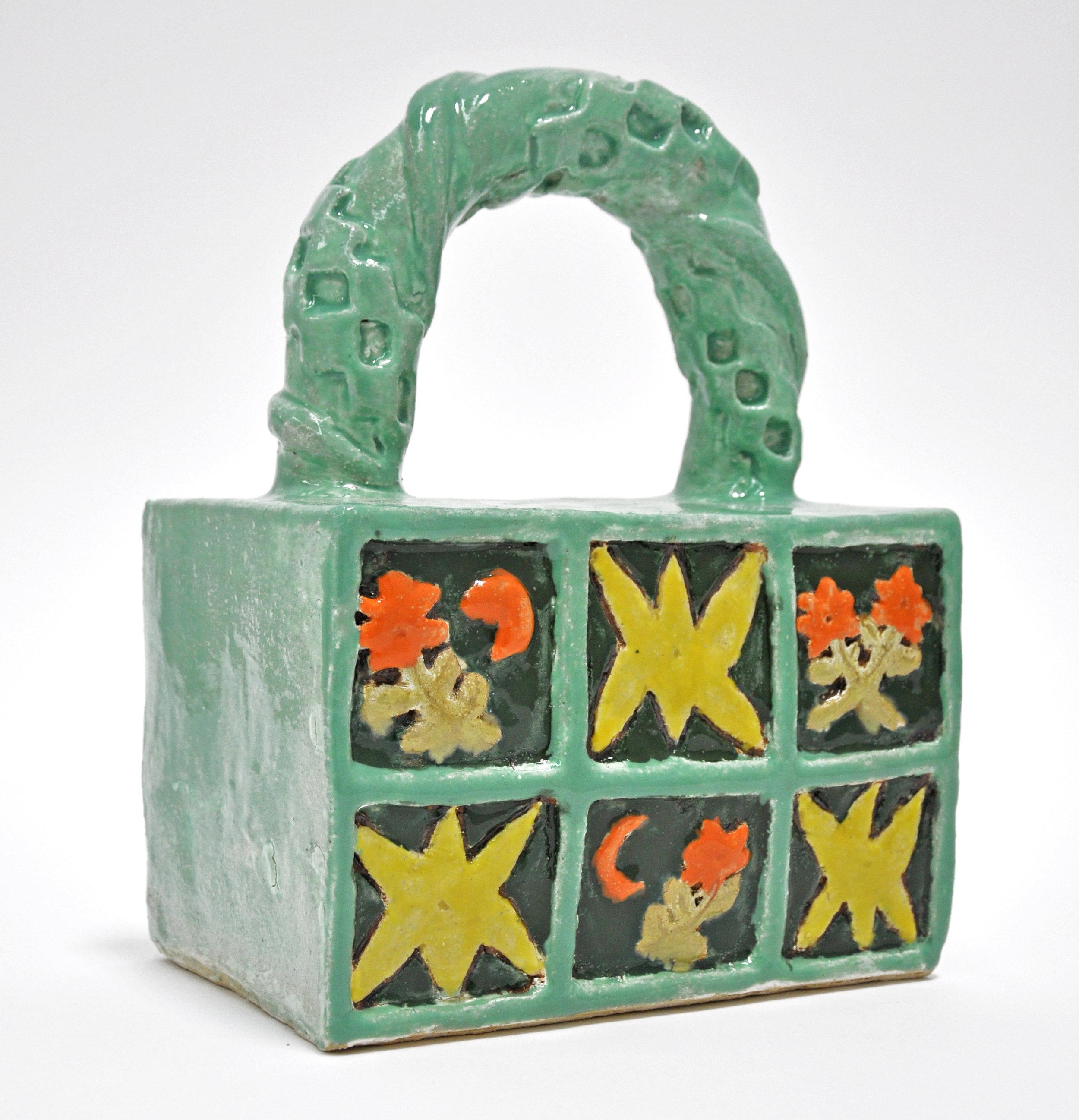 """Maryam Yousif, """"Cosmic Handbag: Night Walk"""", glazed stoneware, 9 x 5.5 x 12.5 in, 2019, $1200"""