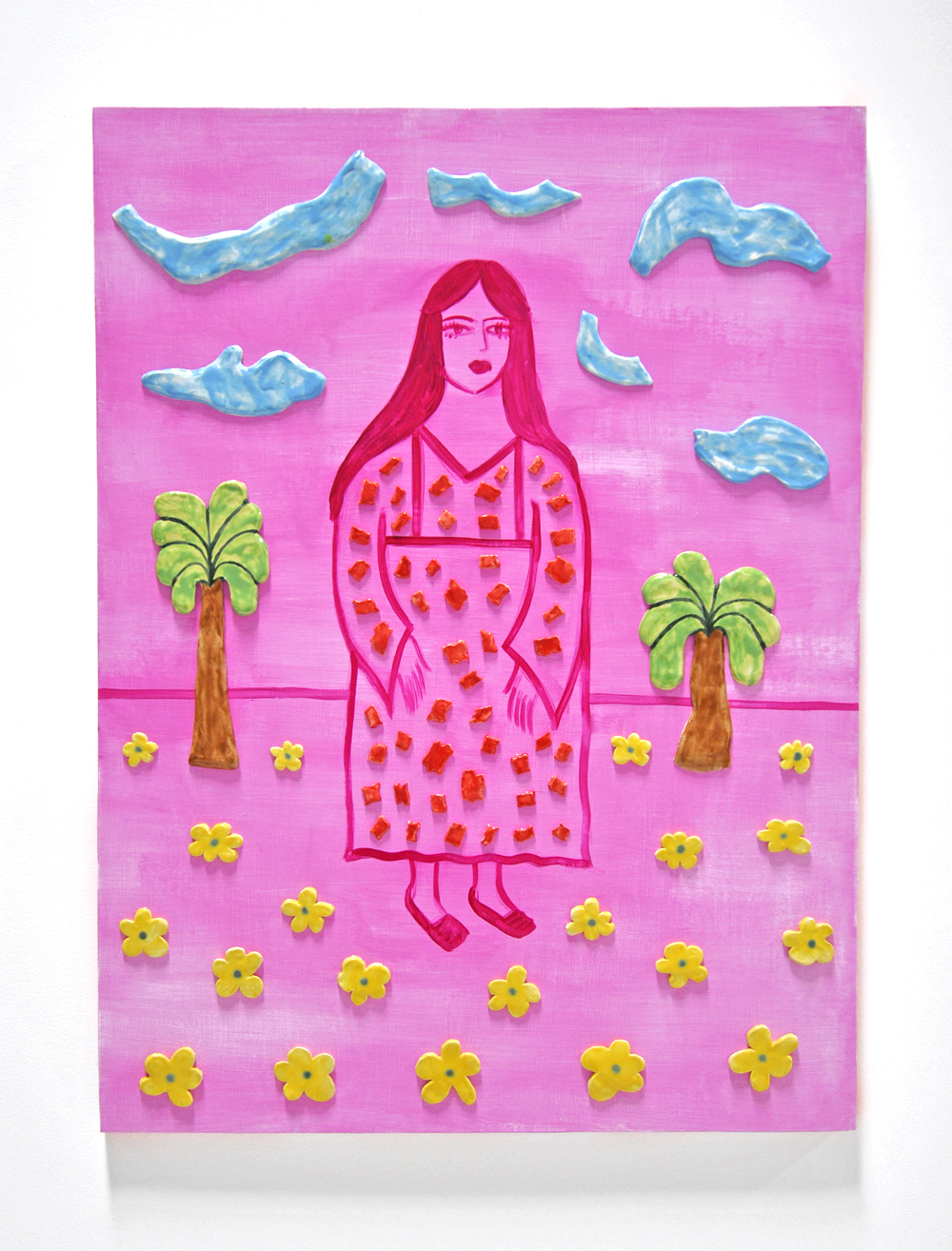 Maryam Yousif, PUABI AND TWO PALMS (MAGENTA), 36 x 48 in, Acrylic and glazed porcelain on panel, 2019