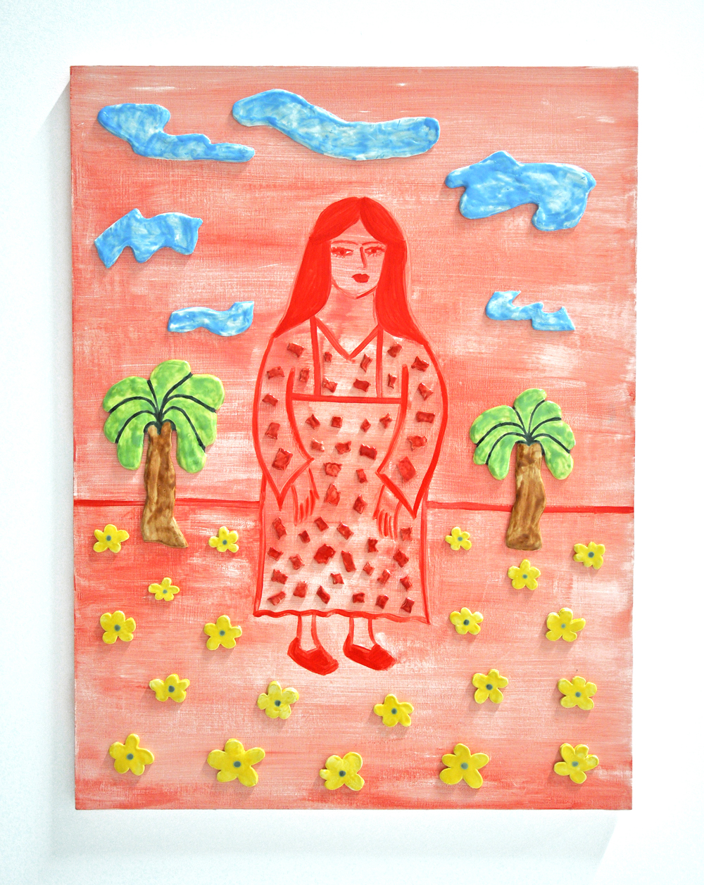 Maryam Yousif, PUABI AND TWO PALMS (RED), 36 x 48 in, Acrylic and glazed porcelain, 2019