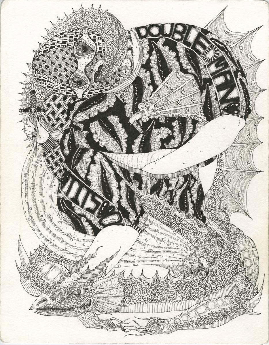 "Copy of Craig Calderwood, ""DOUBLE D'S"", 11 x 14 in, Pen on Water Color Paper, 2019"