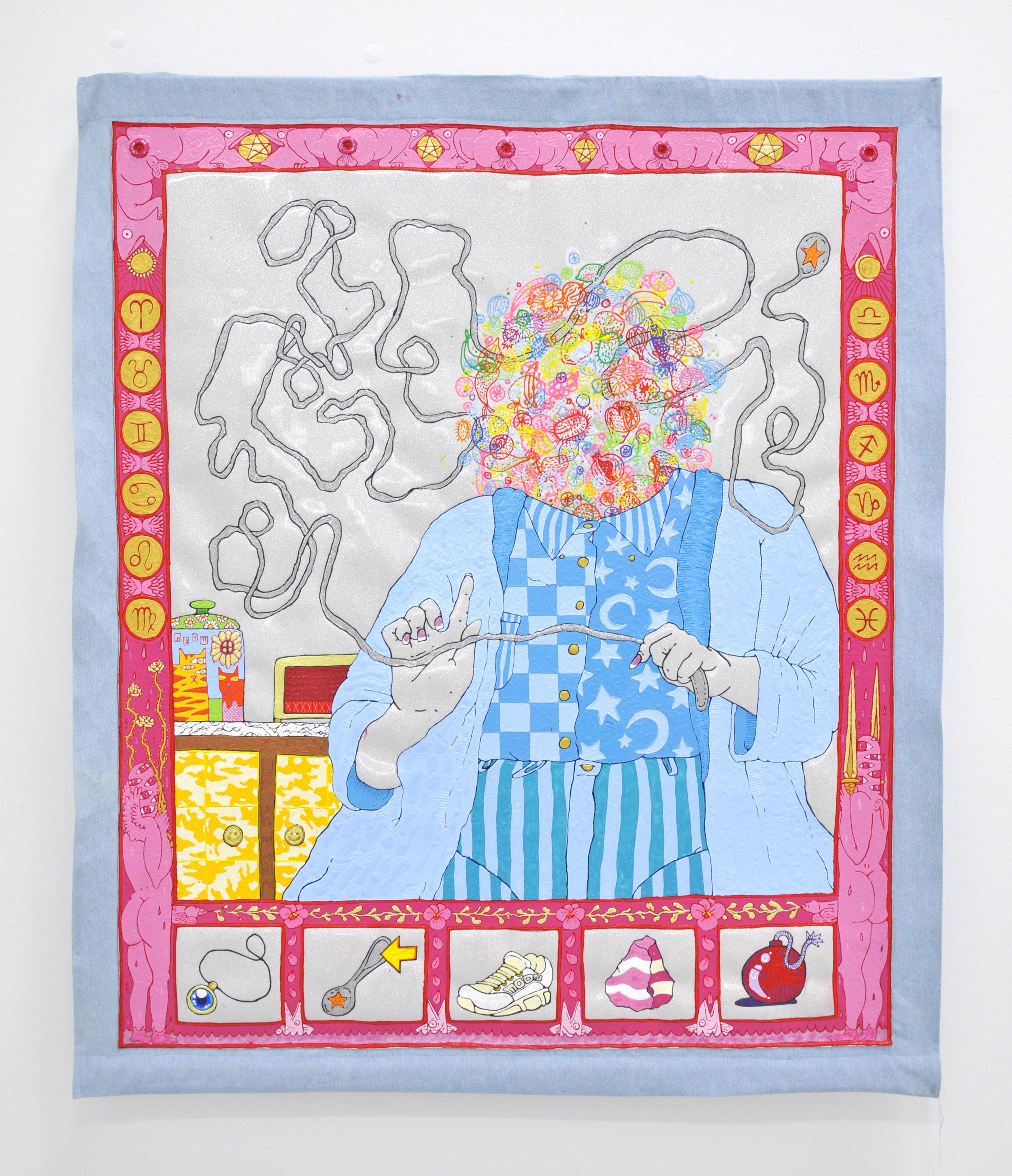 "Copy of Craig Calderwood, ""UNTITLED (SPOON READING)"", 49 x 58 in, Dimensional Paint, Vinyl, Denim, Wood, Thread, Grommets, 2019"