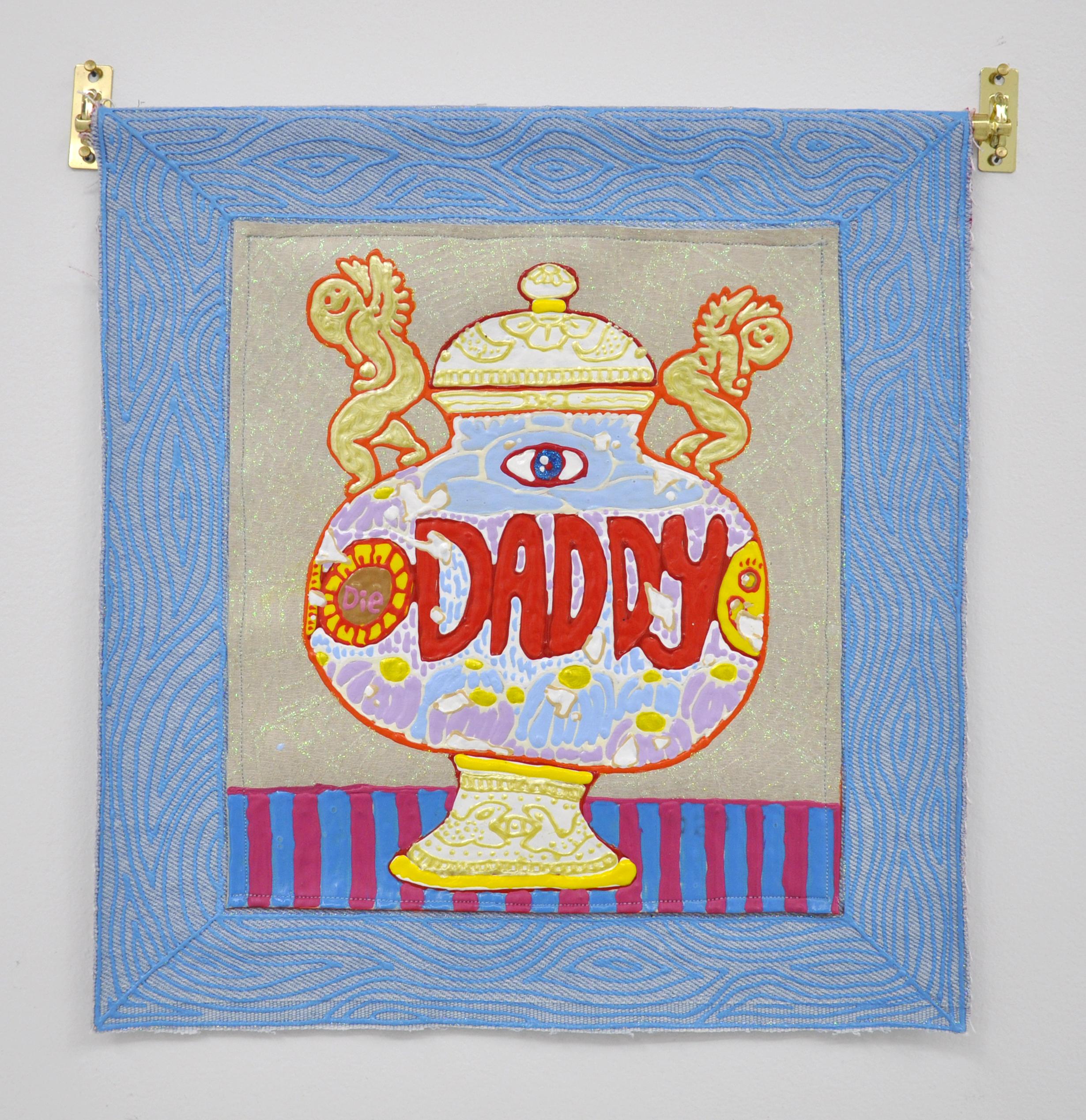 """Copy of Craig Calderwood, """"URN FOR DADDY"""", 11.25 x 12 in, Dimensional Paint, Vinyl, Denim, Thread, 2019"""