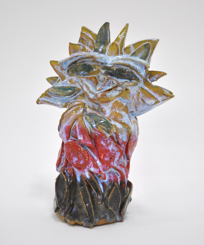 """Copy of Jamie Felton, """"Woodland Sunflower"""", 10 x 4 x 4 in, Glazed ceramic, 2019"""