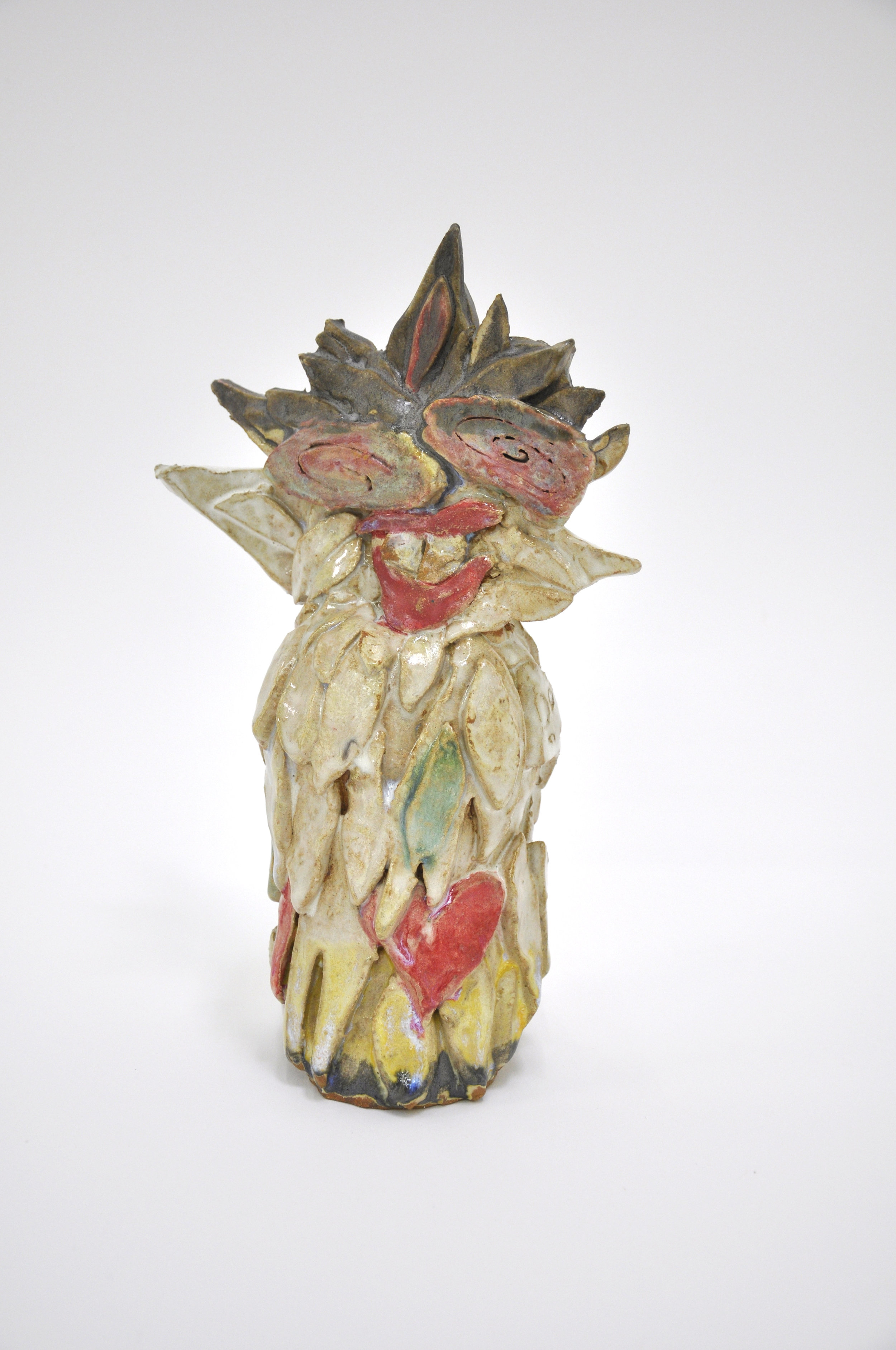 """Copy of Jamie Felton, """"White Leaf Sunflower"""", 11 x 4 x 4in, Glazed ceramic, 2019"""