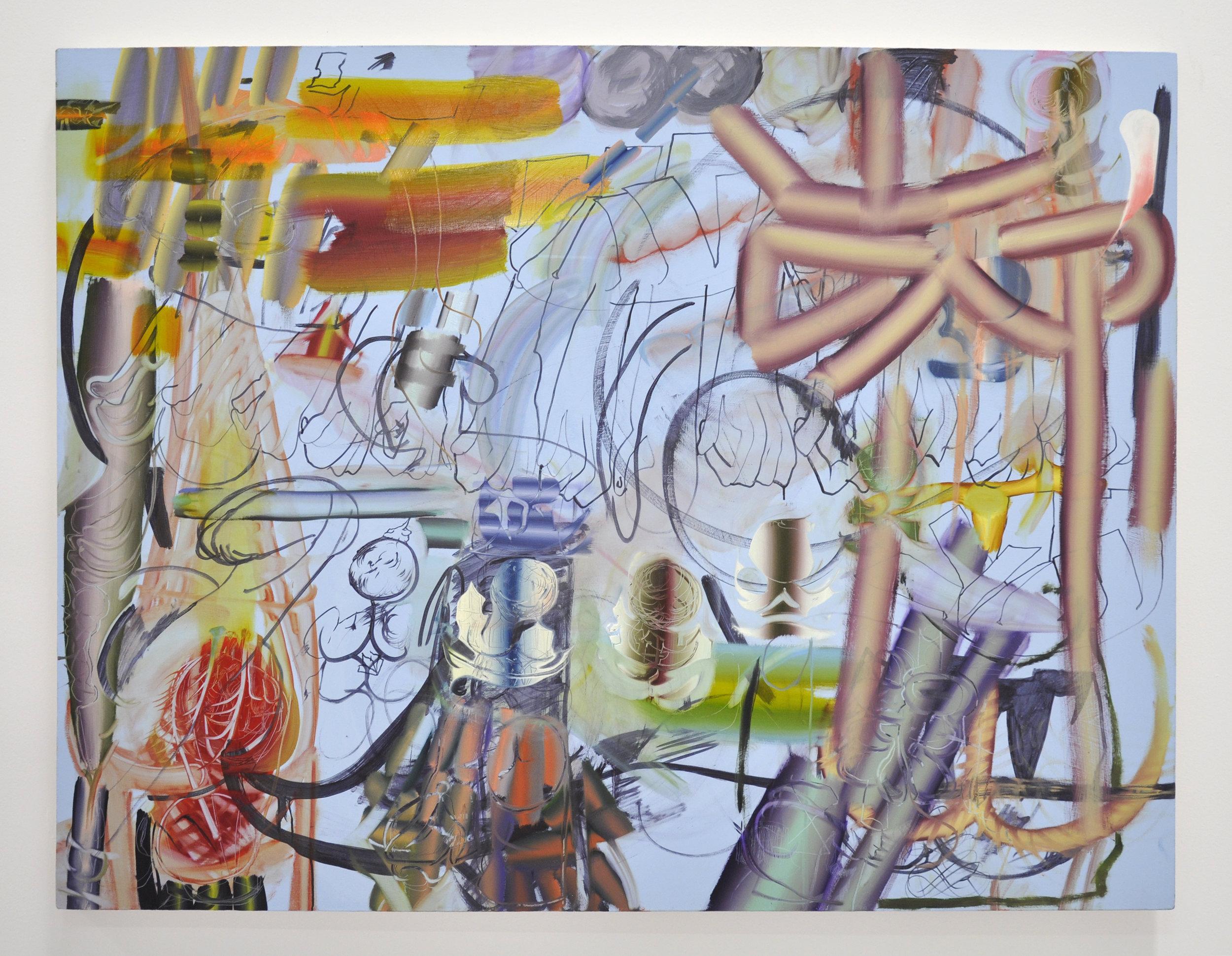 """Copy of Lauren Quin, """"Dials"""", 55 x 77 in, Oil on canvas, 2019"""
