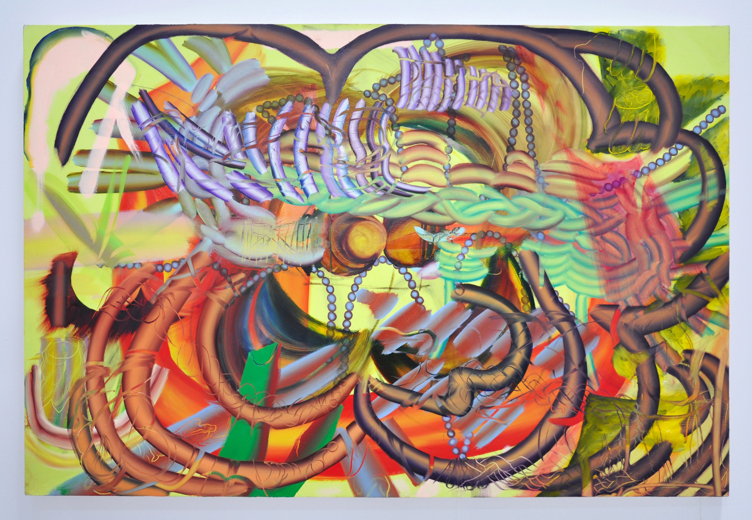 """Copy of Lauren Quin, """"Braided to Irides"""", 48 x 72 in, Oil on canvas, 2019"""