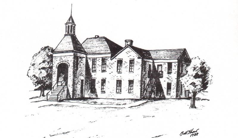Salado College.    The original structure of the college building was the ell shaped structure to the right. The college chapel was located on first floor on the far right side of the building.