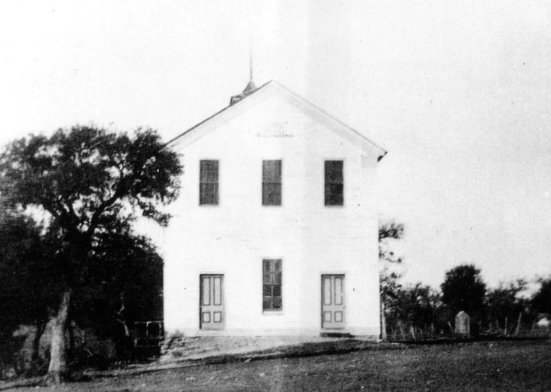 Salado Baptist Church with Masonic Lodge Hall on top, 1878 - 1958.