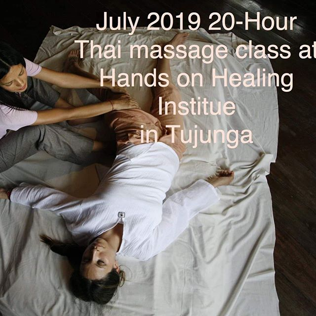 Happy to announce I will be teaching a 20-hour Thai massage course @hands.on.healing institute in Tujunga, California. Suitable for all levels, and in the style of my teacher Ajarn Pichest Boonthumme in Thailand.  DATES: July 9/10/16/17/24 9:30am-1:30pm. COST: $314.  https://www.calendarwiz.com/calendars/popup.php?op=view&id=134366955&crd=handson  #thaimassage #thaiyogamassage #massage #massagetherapy #continuingeducation #thaimassagetraining #thaimassageclass #losangeles #tujunga #handsonhealinginstitute #pichest #wellness #massagetherapist
