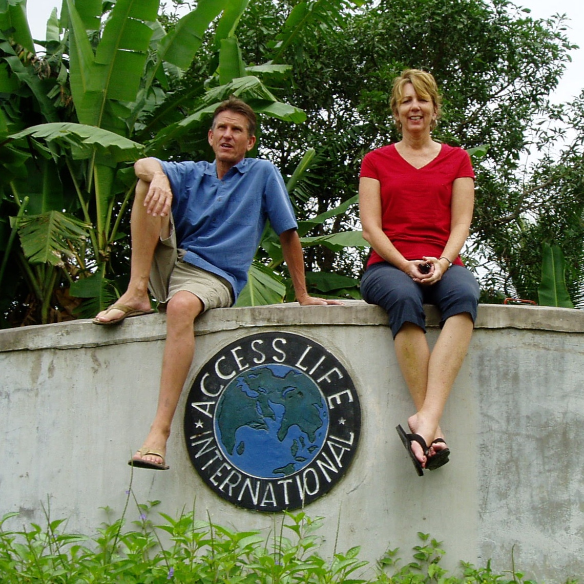 Diane Mayfield with her husband, Bob, visiting a water project.
