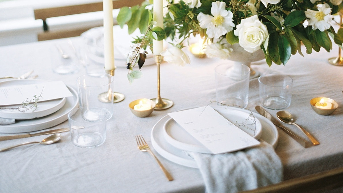 Photograph by Anna Peters, Menu design by Alexandra Studios, Floral Design by Gather Design Company, Styling by Cured By Salt