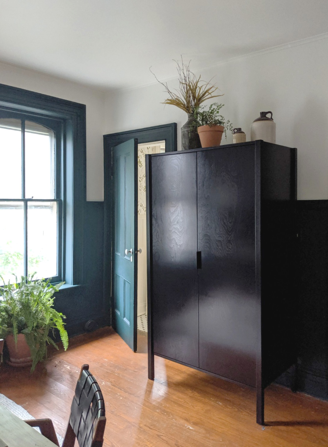 Ebonized Armoire, Braxton Alexander, shown in the 2019 Kingston Design Connection Showhouse Office.