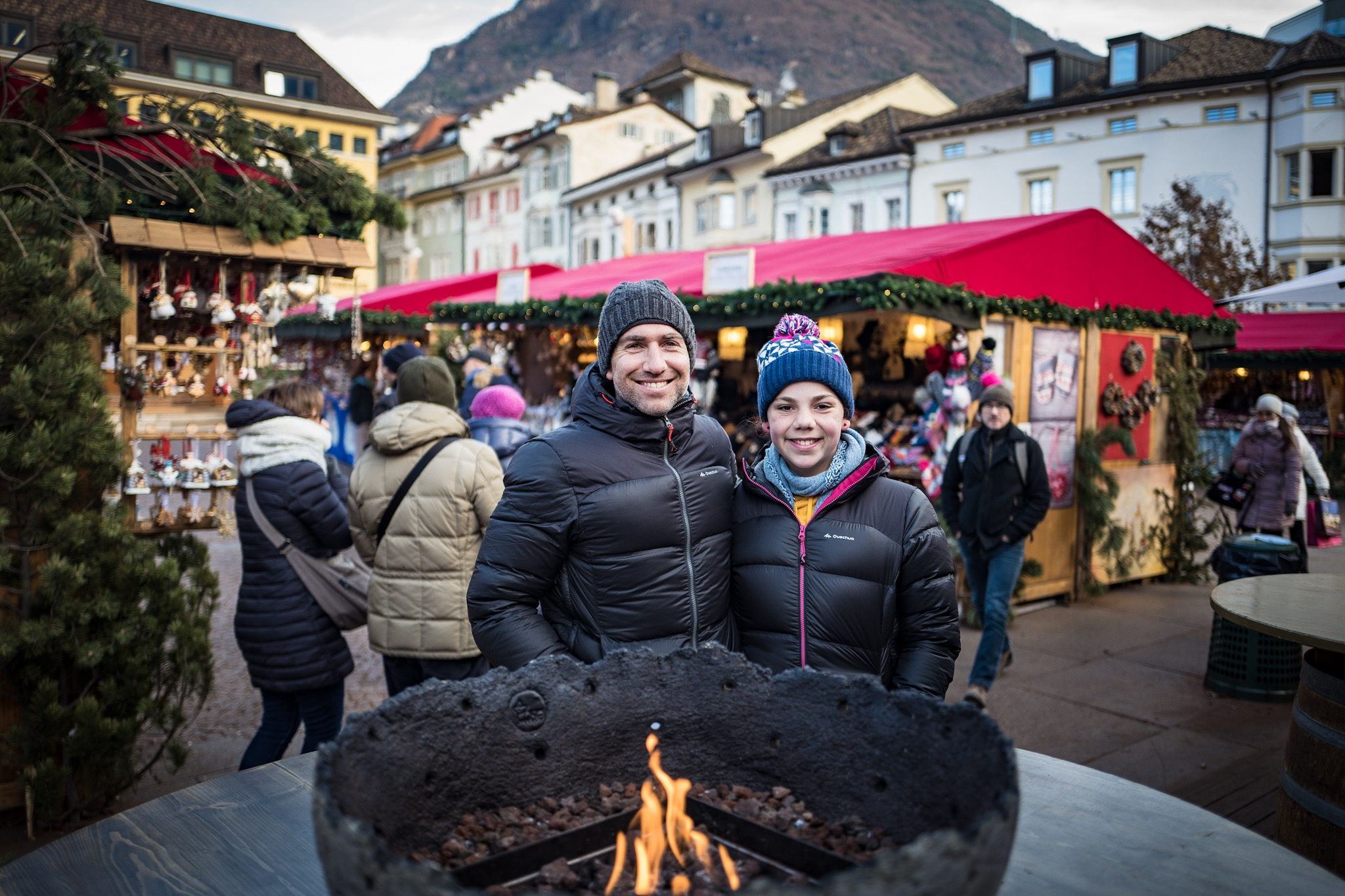 Hanging by the fire at the Xmas markets drinking warm drinks in the very cold streets of Bolzano