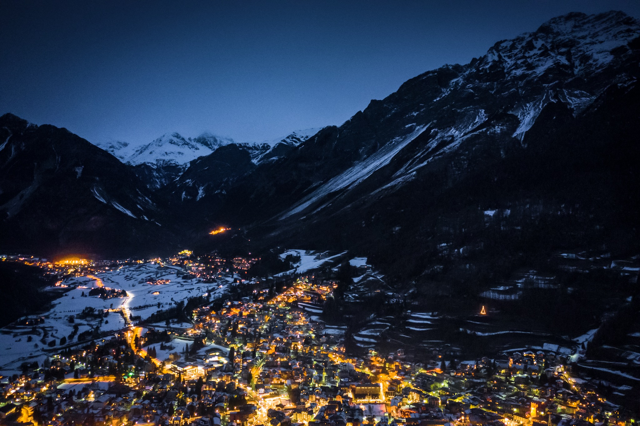 View of Bormio at night from the chalet lounge room.