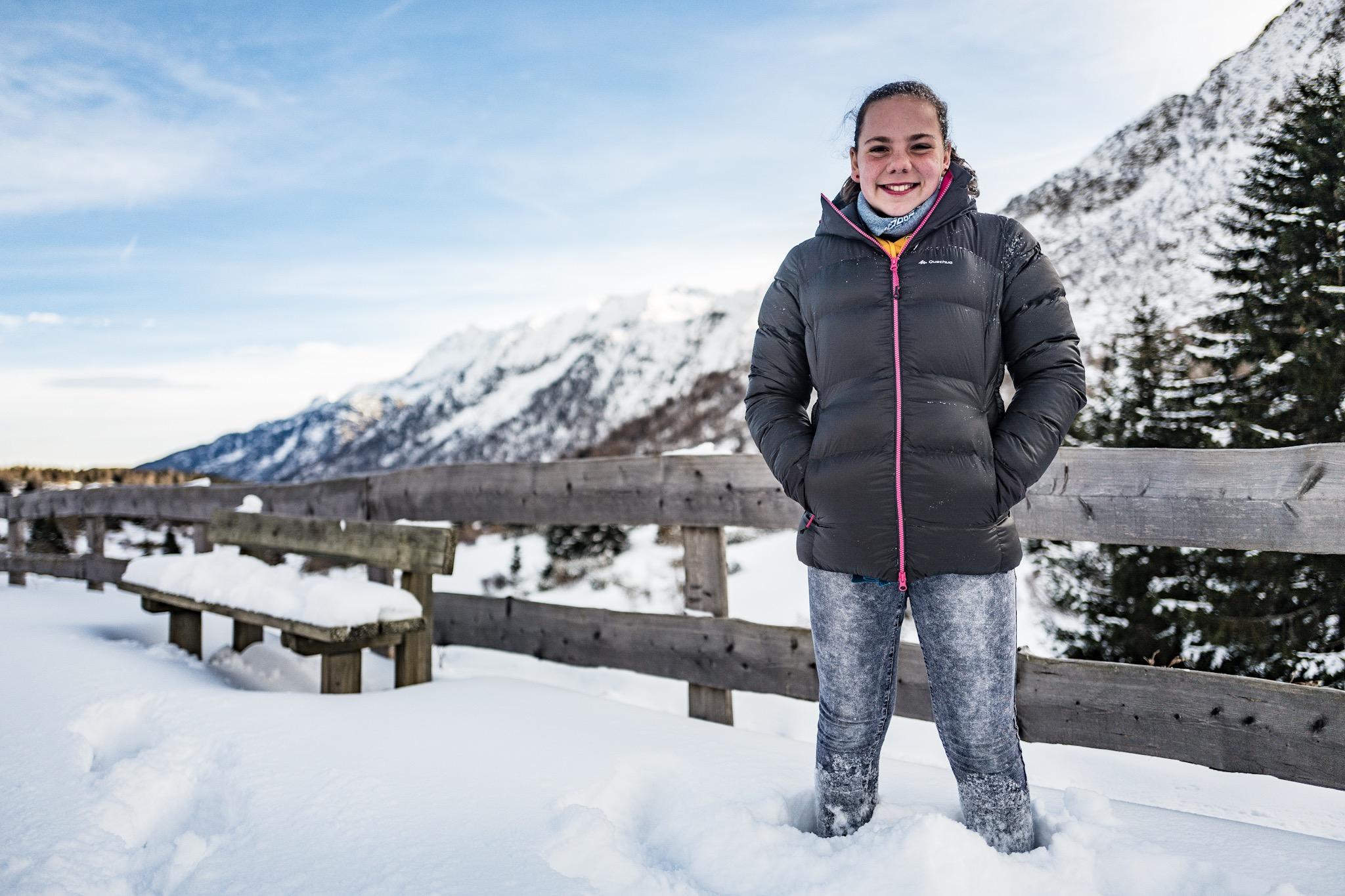 She's pretty happy in knee deep powder snow.