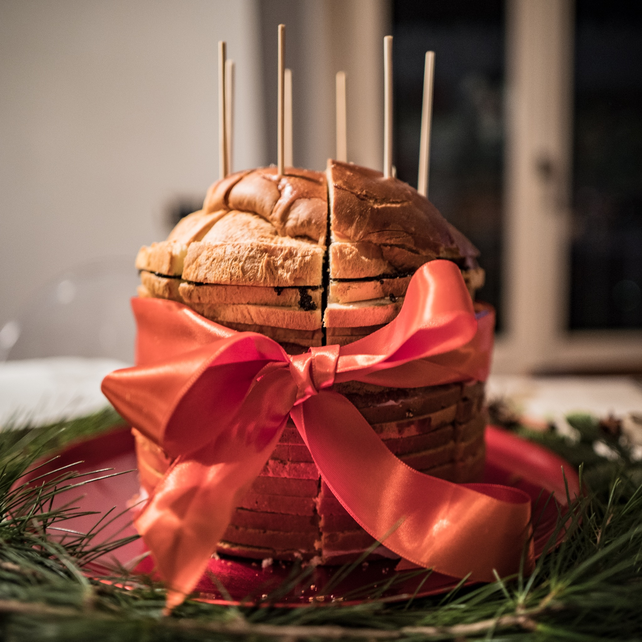 Spectacular Xmas tower with layers of salami, ham, speck and caviar sandwiches…