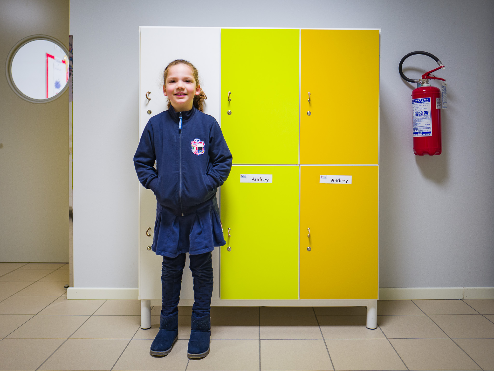 Audrey very excited she has a locker at school!