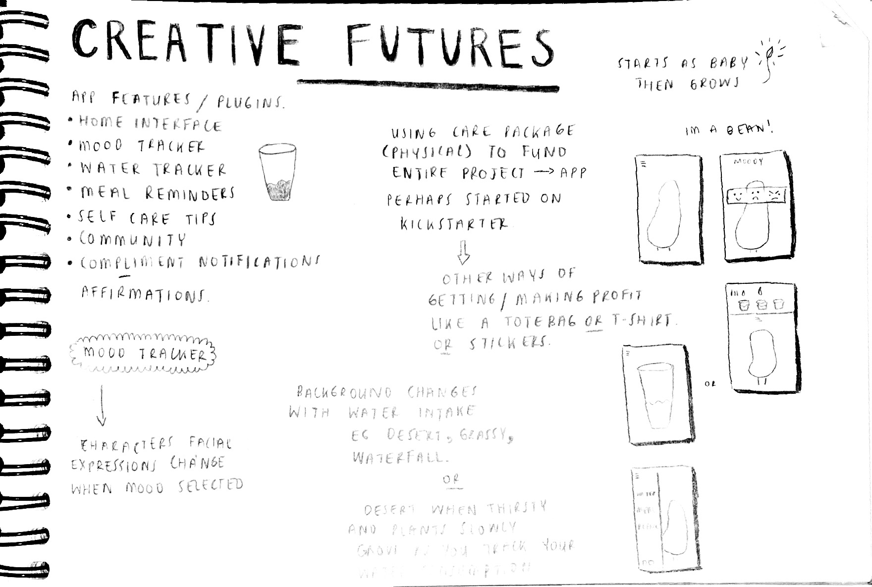 Excerpt from process sketchbook - Early Ideation and Conceptual Interface Planning