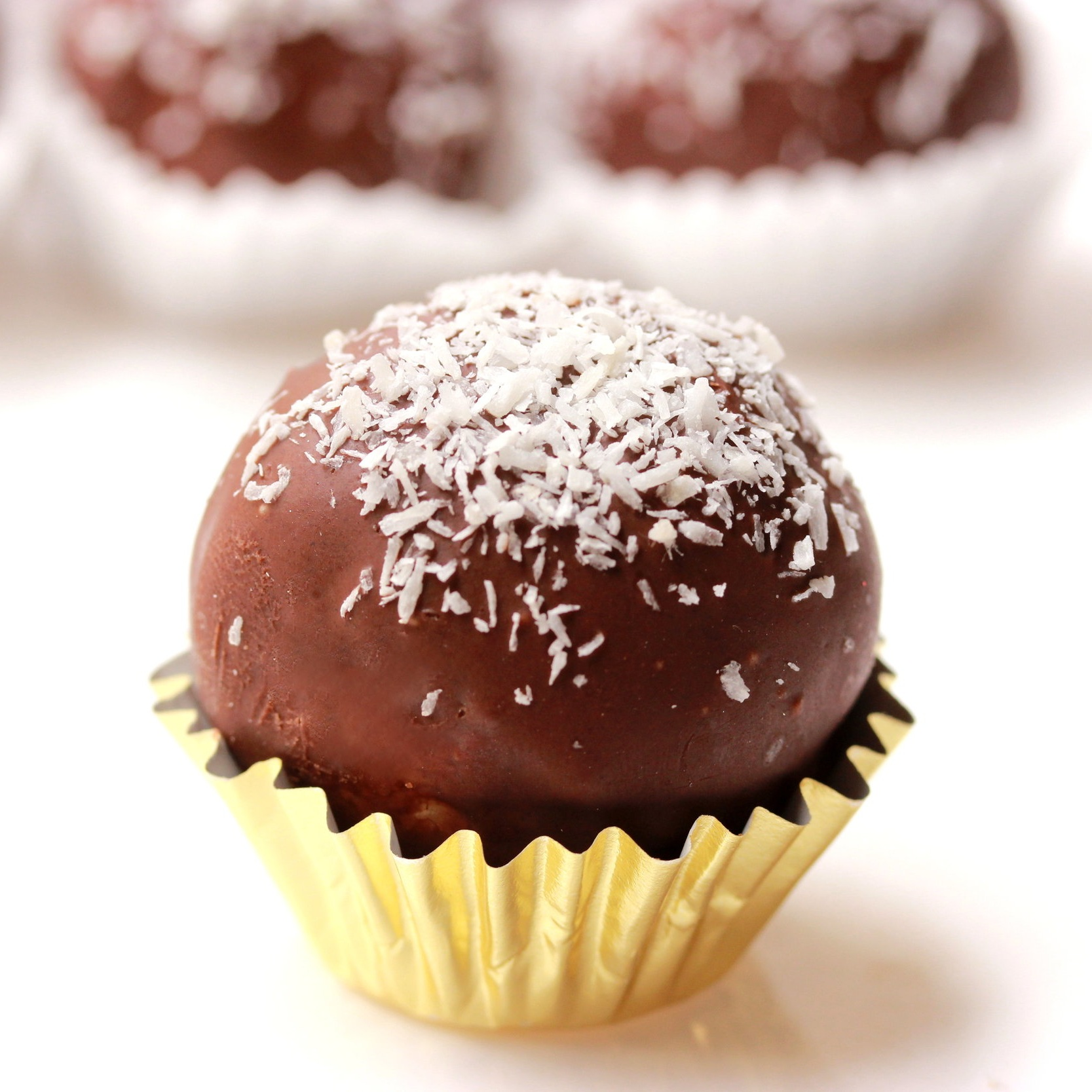 Chocolate Covered Coconut Bonbon   Ingredients: Organic Coconut, Milk, Sugar and Chocolate