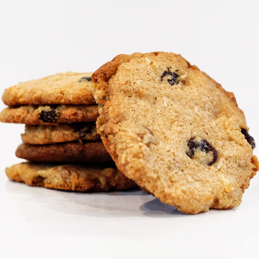 Almond Cookies   Ingredients: Almond Flour, Walnuts, Coconut Flakes, Raisins, Honey, Eggs, Coconut oil